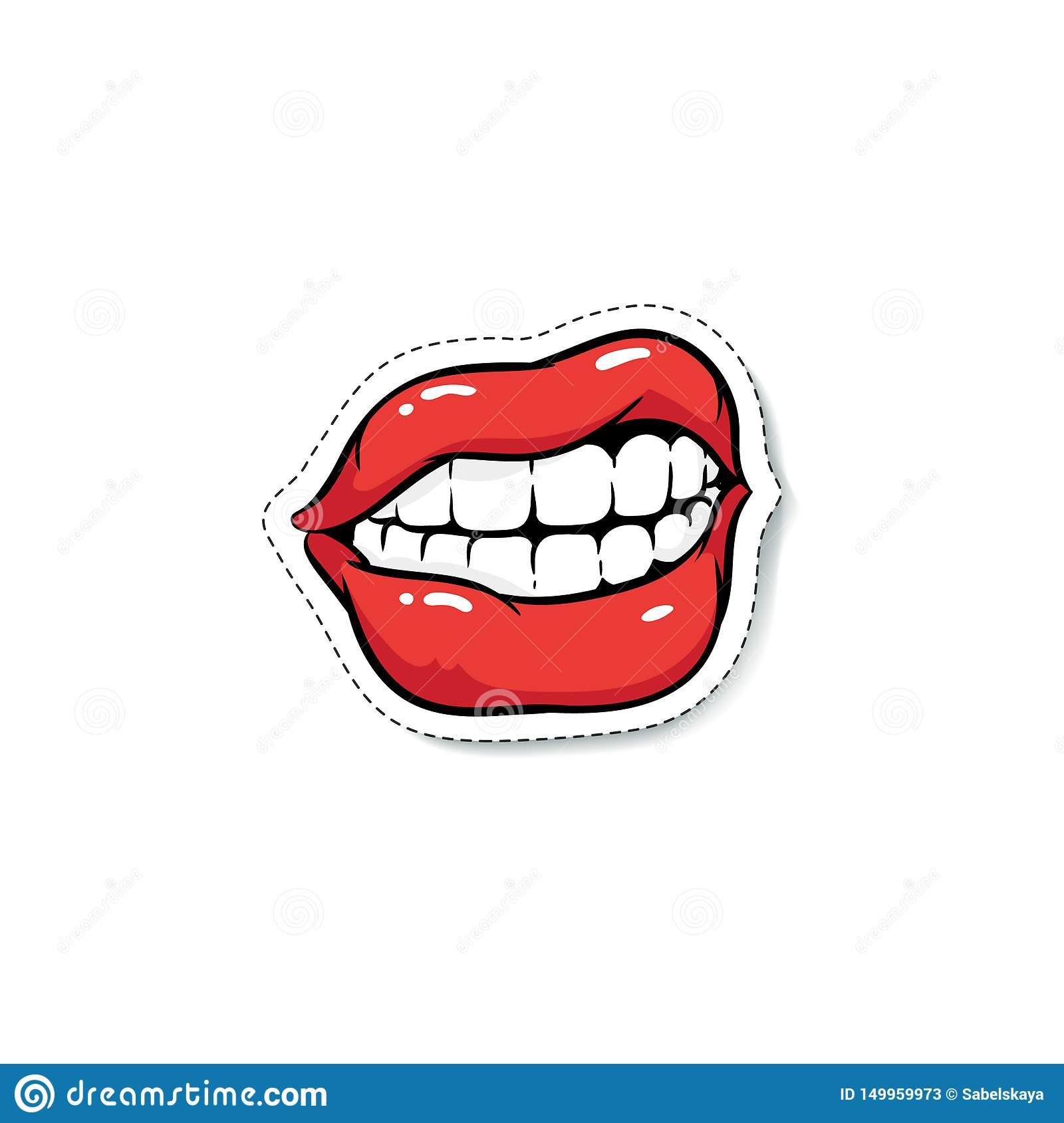 Ajar Grinning Female Mouth With Red Makeup Cartoon Pop Art Style Stock Vector Illustration Of Isolated Drawing 149959973