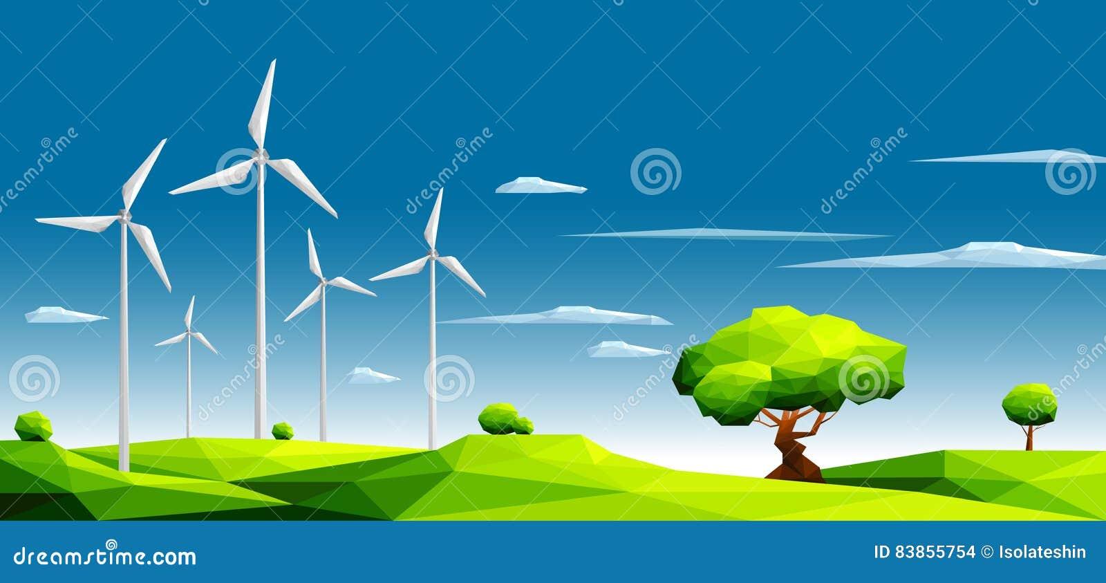 Ajardine com a exploração agrícola de vento em campos verdes entre árvores Conceito da ecologia Estilo poligonal