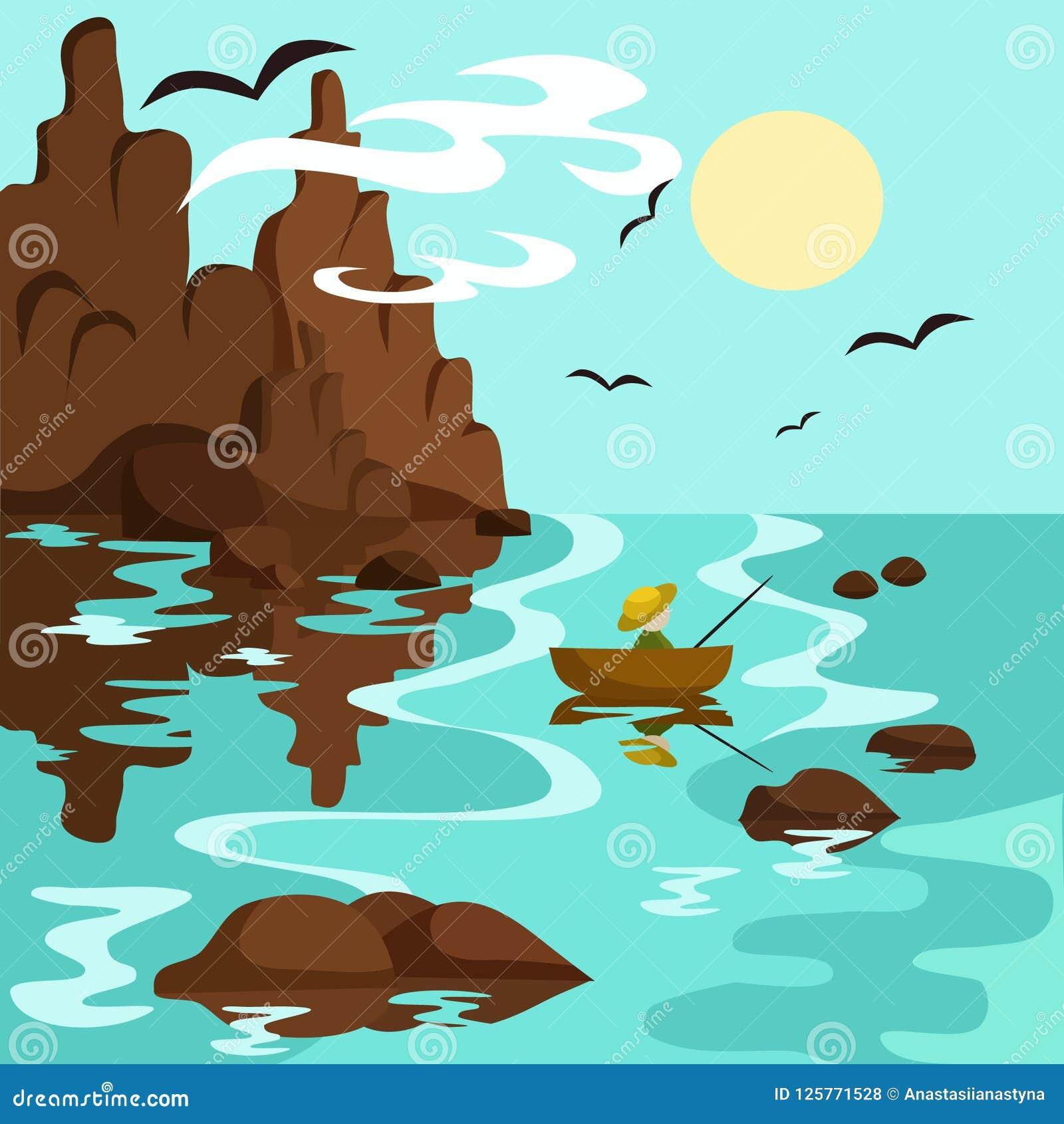 Ajardine com mar, montanhas e pescador em um barco