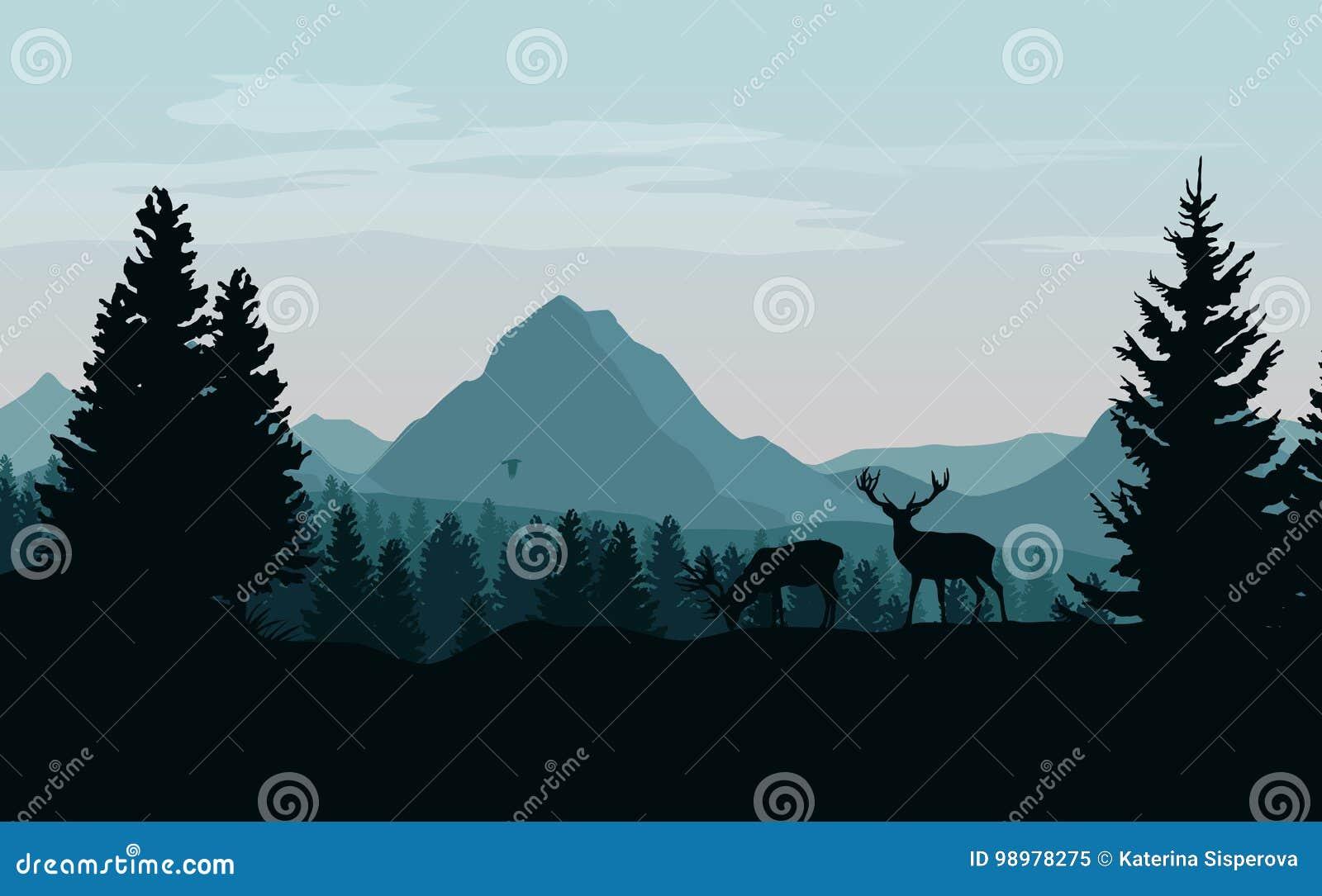 Ajardine com montanhas, a floresta e as silhuetas azuis das árvores a
