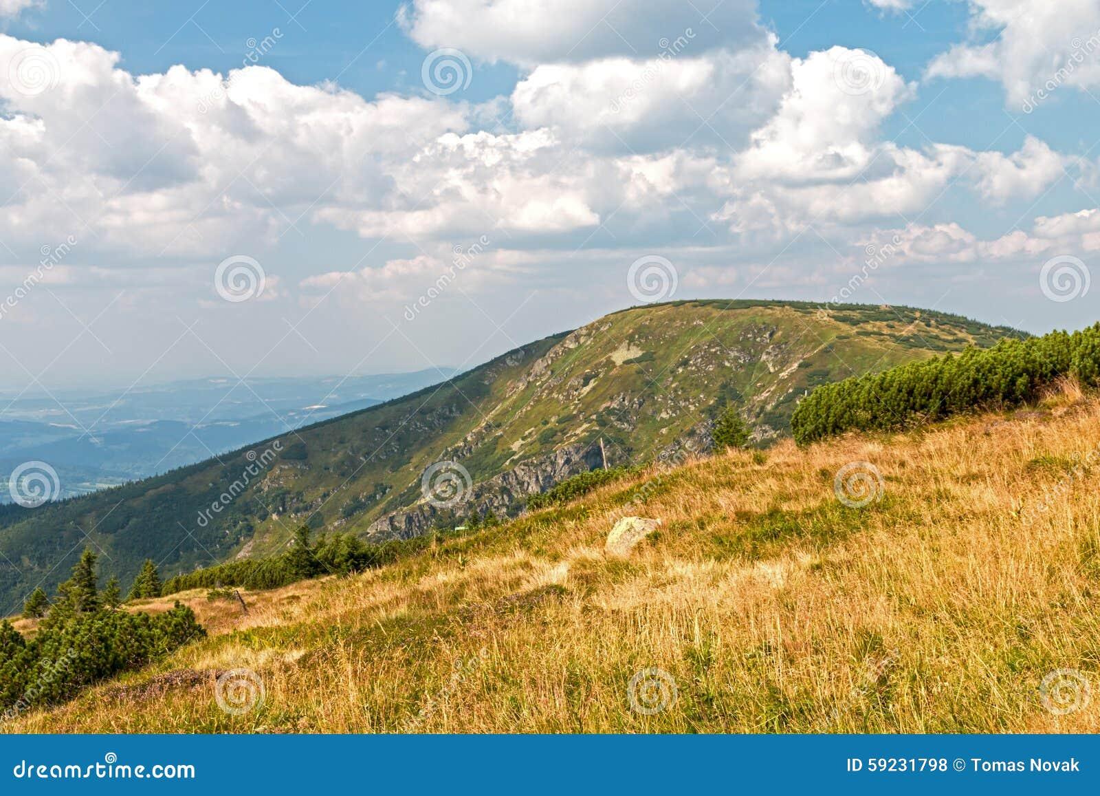 Ajardine con la montaña y las nubes agradables en Krkonose