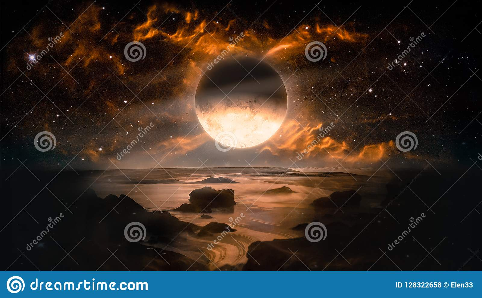 Ajardine en el planeta extranjero de la fantasía con el fondo llameante de la luna y de la galaxia
