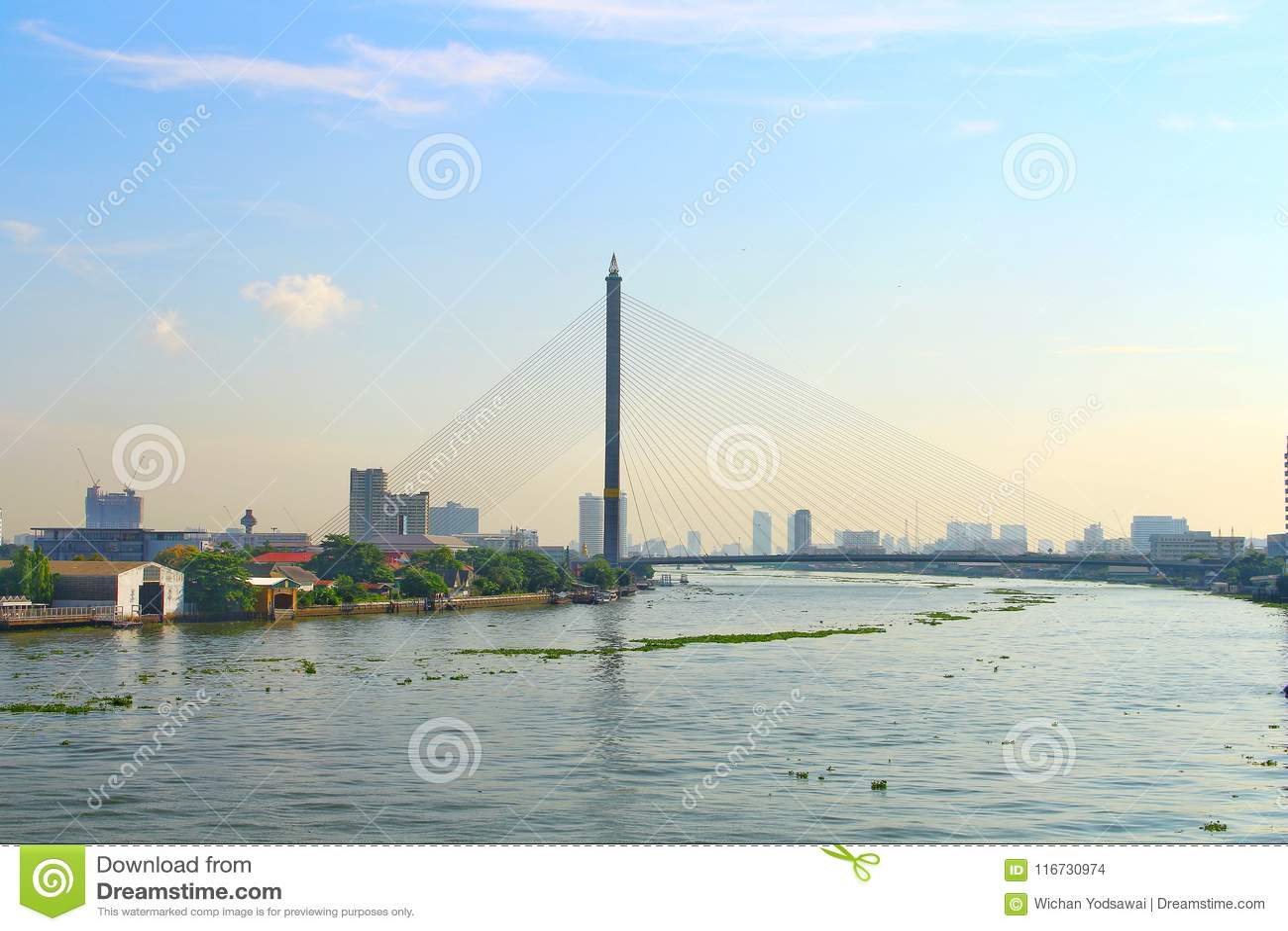 Ajardine la opinión de la ciudad del puente de Rama 8 en la luz de Chao Phraya River With por la mañana