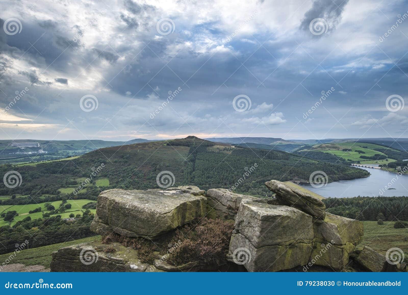 Ajardine la visión desde el borde de Bamford en distrito máximo hacia Ladybo