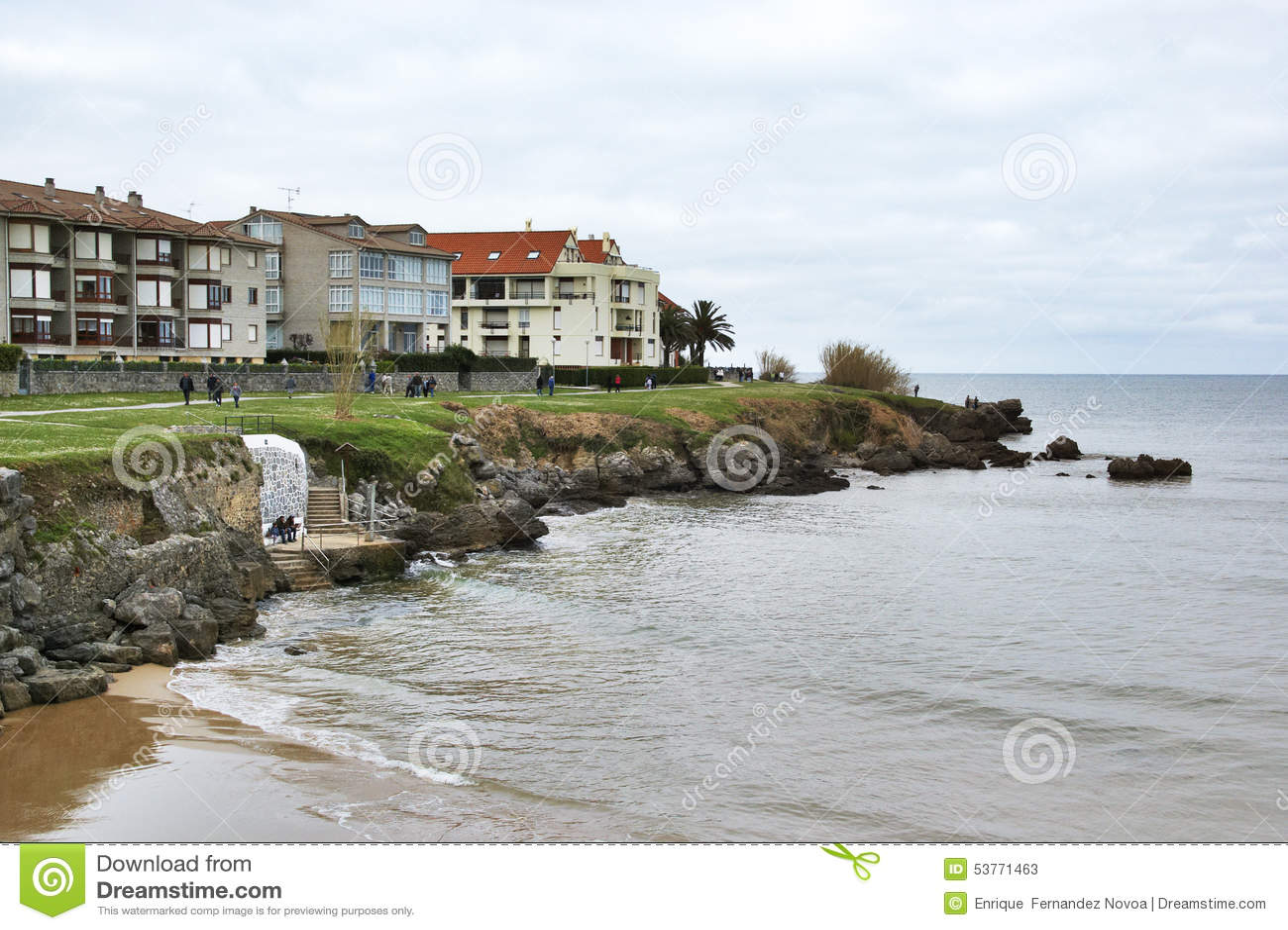 Ajo, Spain - April 3th 2015: Houses in beachfront Noja, Spain