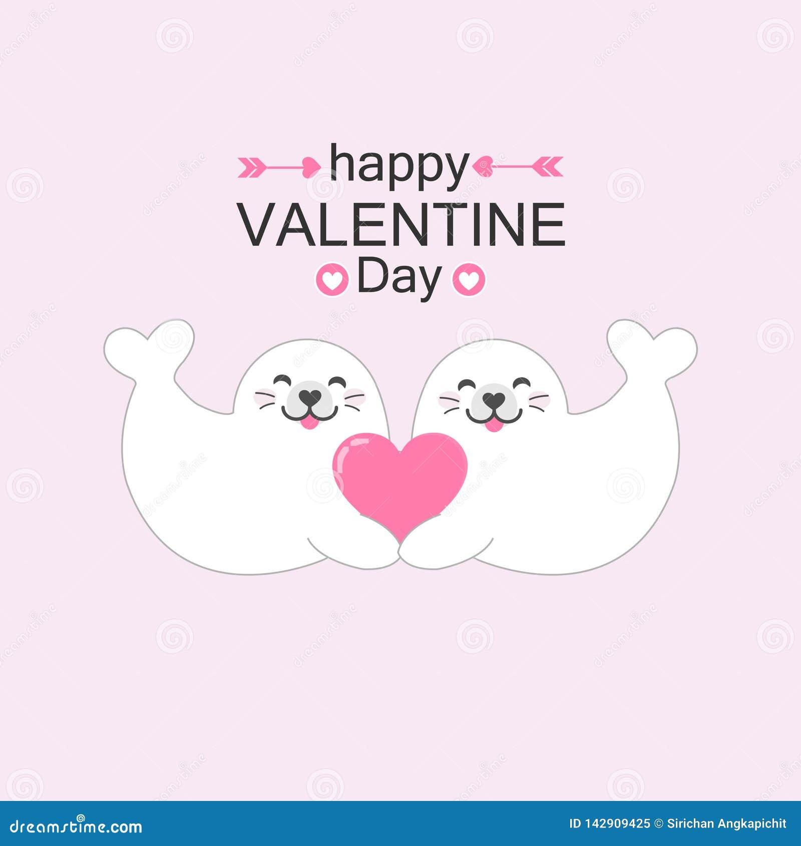 Ajouter mignons de joints au coeur Illustration de vecteur de carte de Saint-Valentin