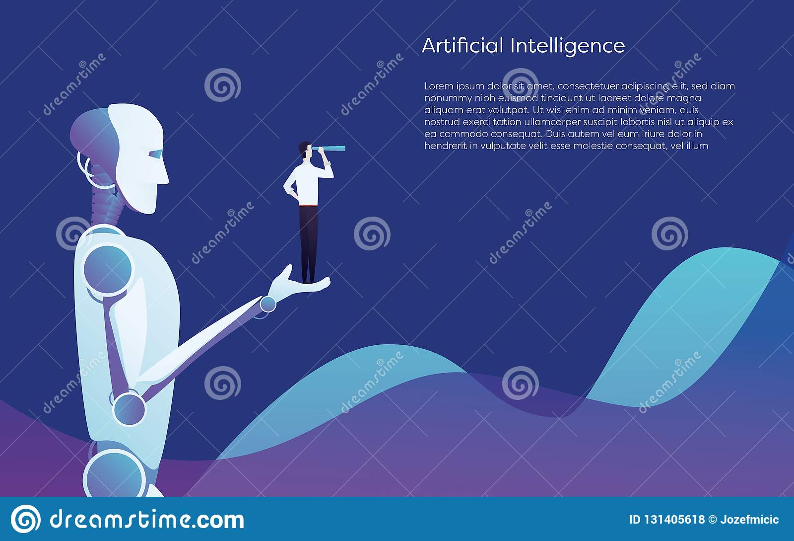 Ajuda do robô da inteligência artificial humana - guardando o conceito disponivel do vetor do homem de negócios Símbolo da tecnol