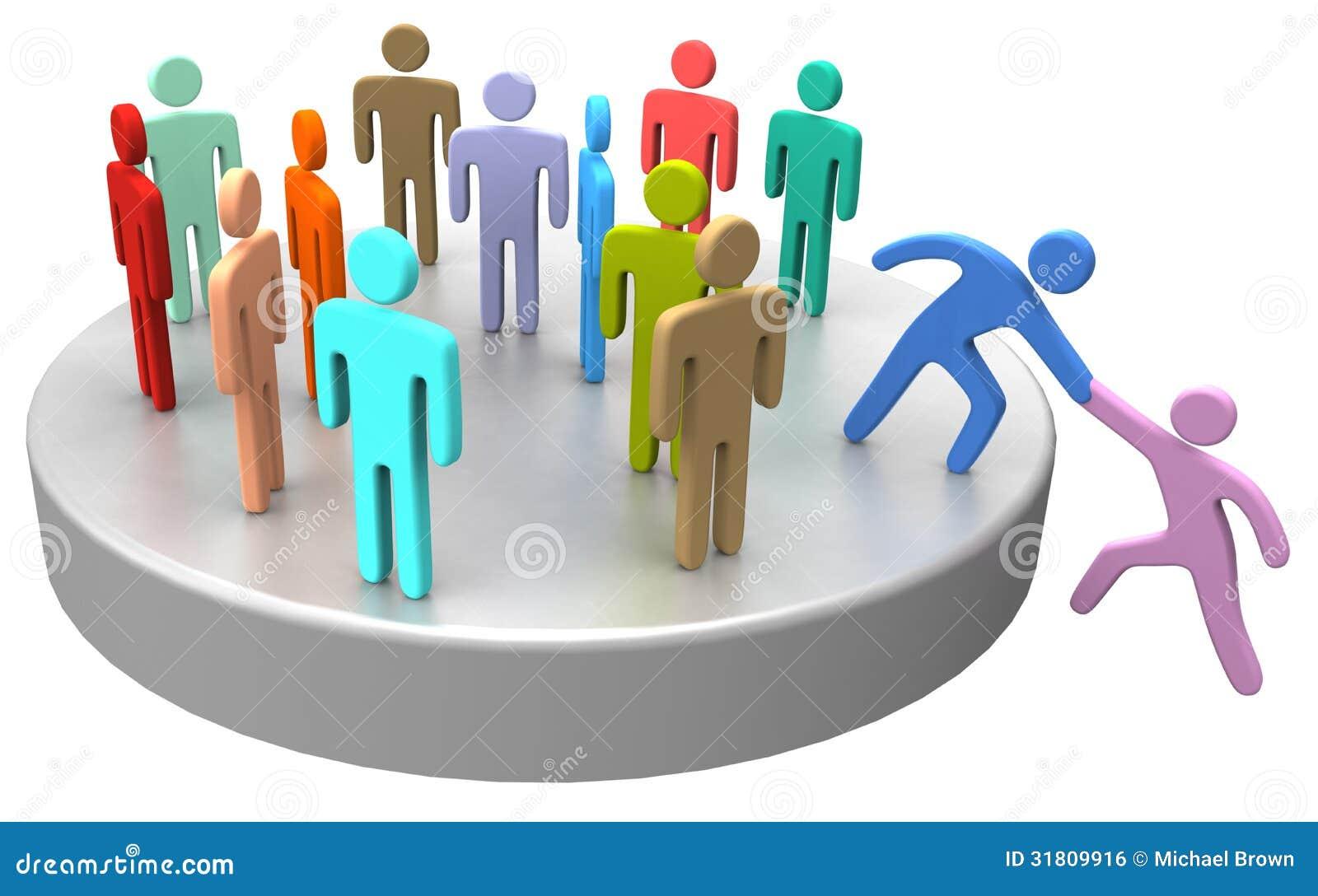 A ajuda junta-se acima dos executivos sociais
