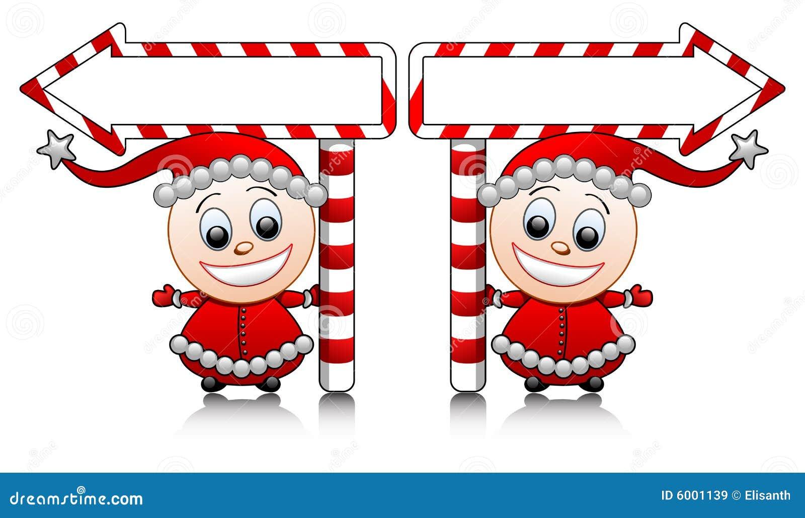 Ajudantes bonitos de Santa do vetor com setas