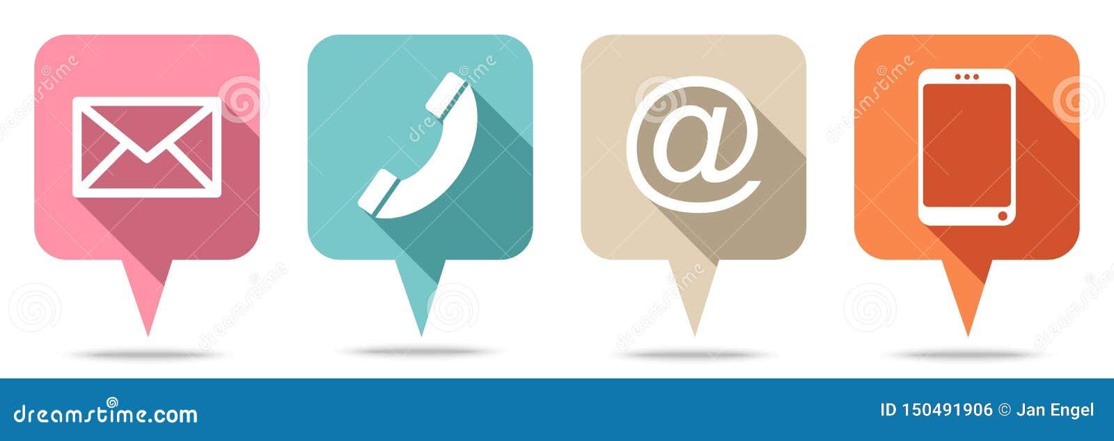 Ajustado de quatro bolhas do discurso contacte cores retros