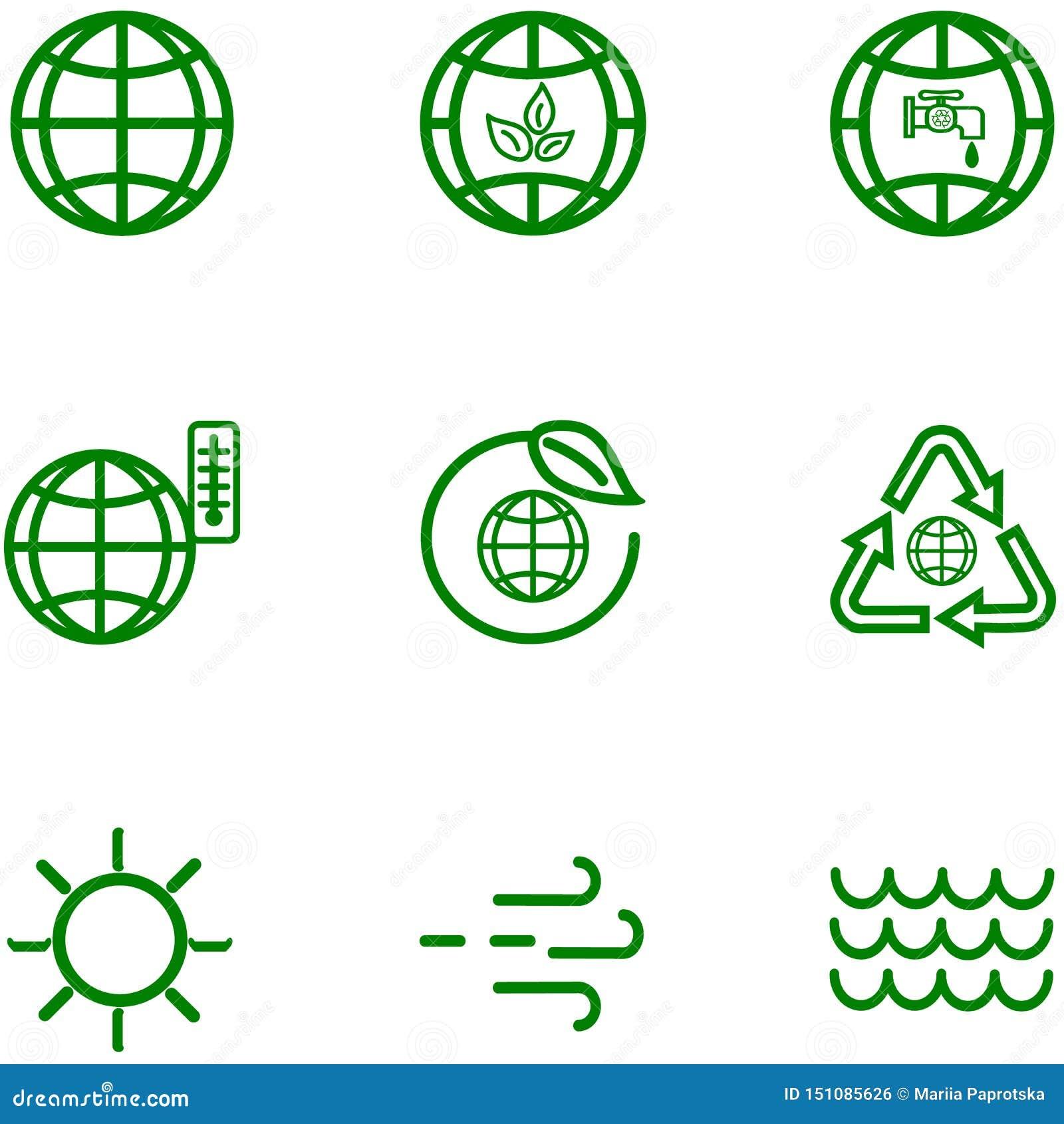 Ajuste ícones do esboço relacionado do globo e da terra