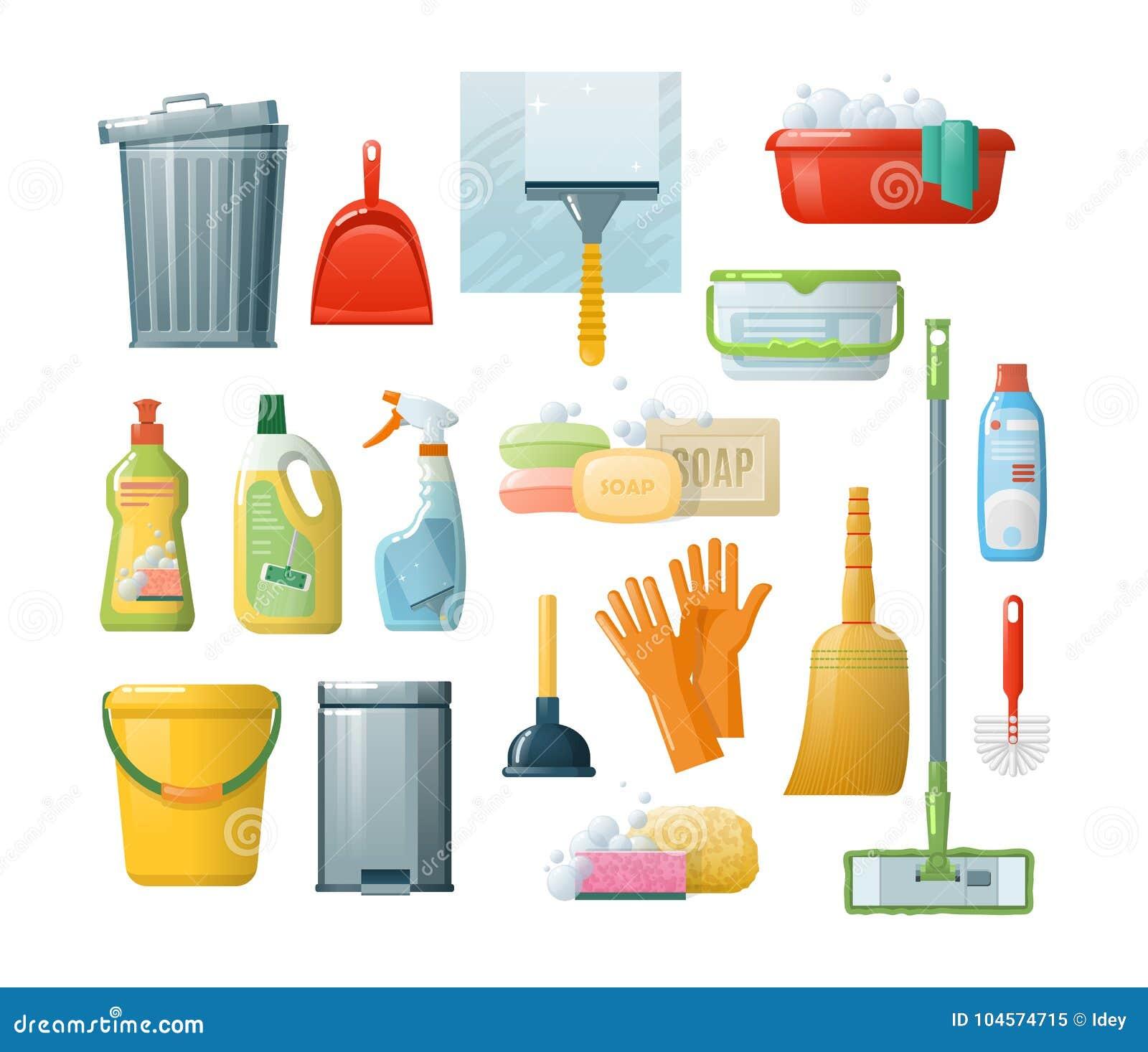 Ajuste acessórios para limpar: cubetas, ferramentas, escovas, bacias, luvas, esponjas