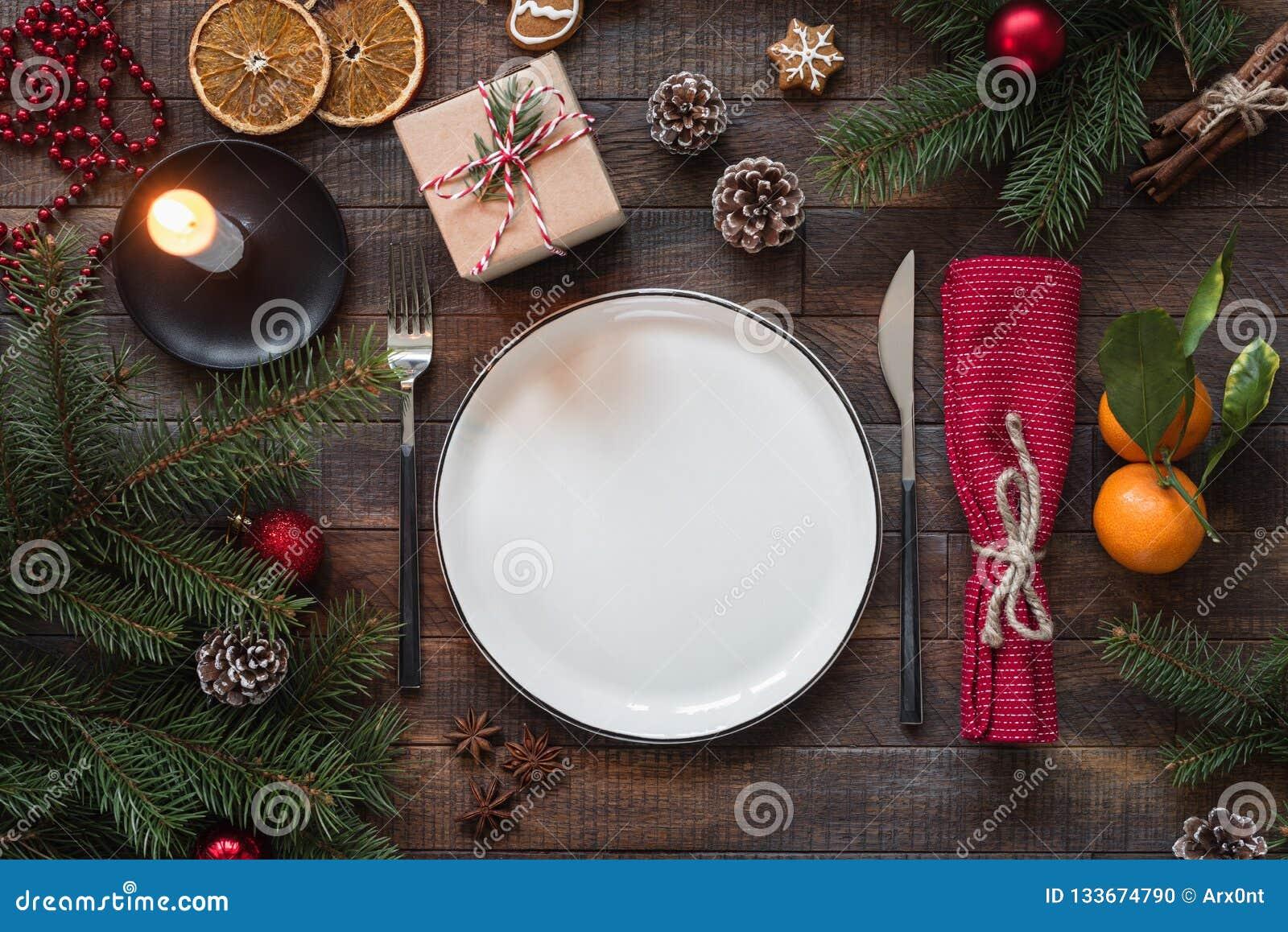 Ajuste auténtico de la tabla de la Navidad, visión superior