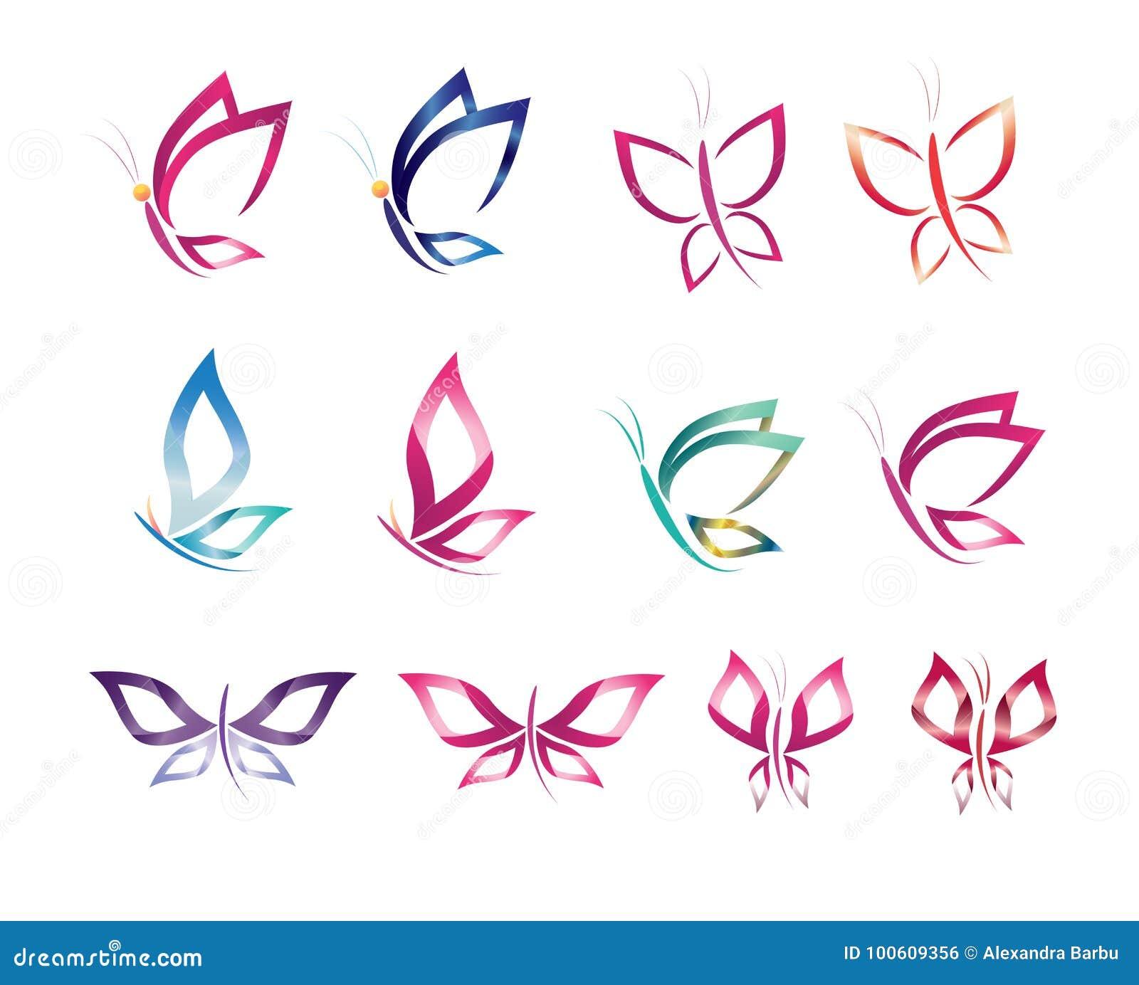 Ajuste a borboleta do vetor do projeto do ícone do símbolo, logotipo, beleza, termas, estilo de vida, cuidado, relaxe, abstraia-a