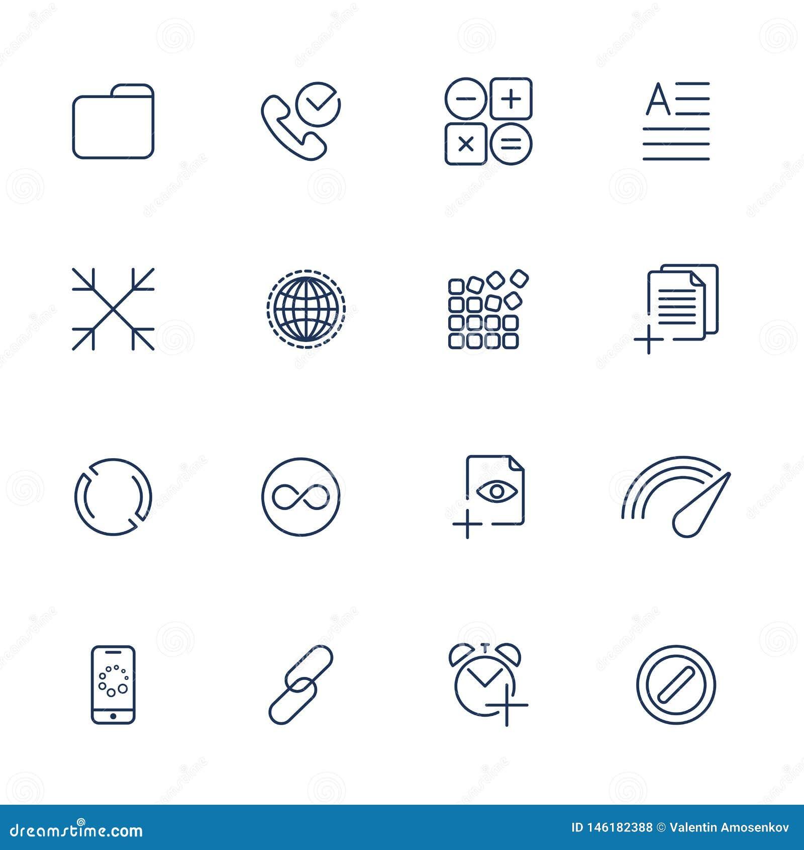 Ajuste com 16 ?cones para o app m?vel, locais, m?bil, software
