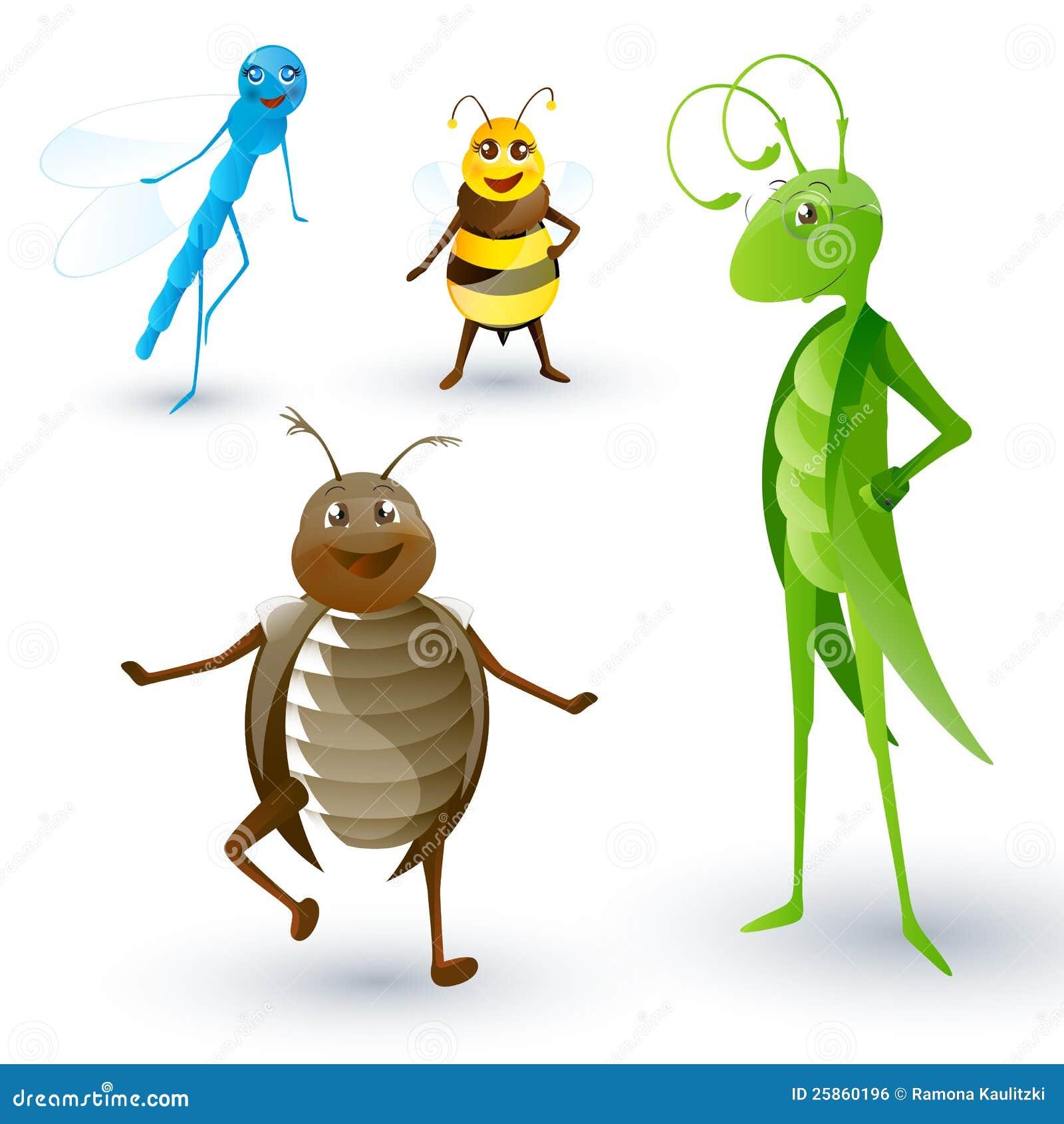 Ajuste com insetos dos desenhos animados imagem de stock