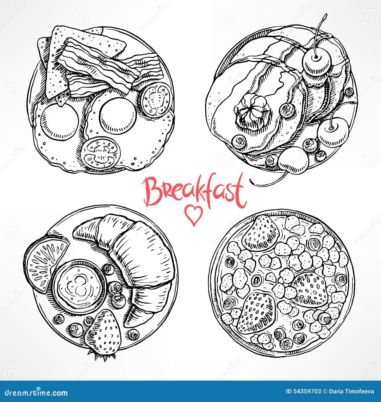 Ajuste com o café da manhã de quatro esboços