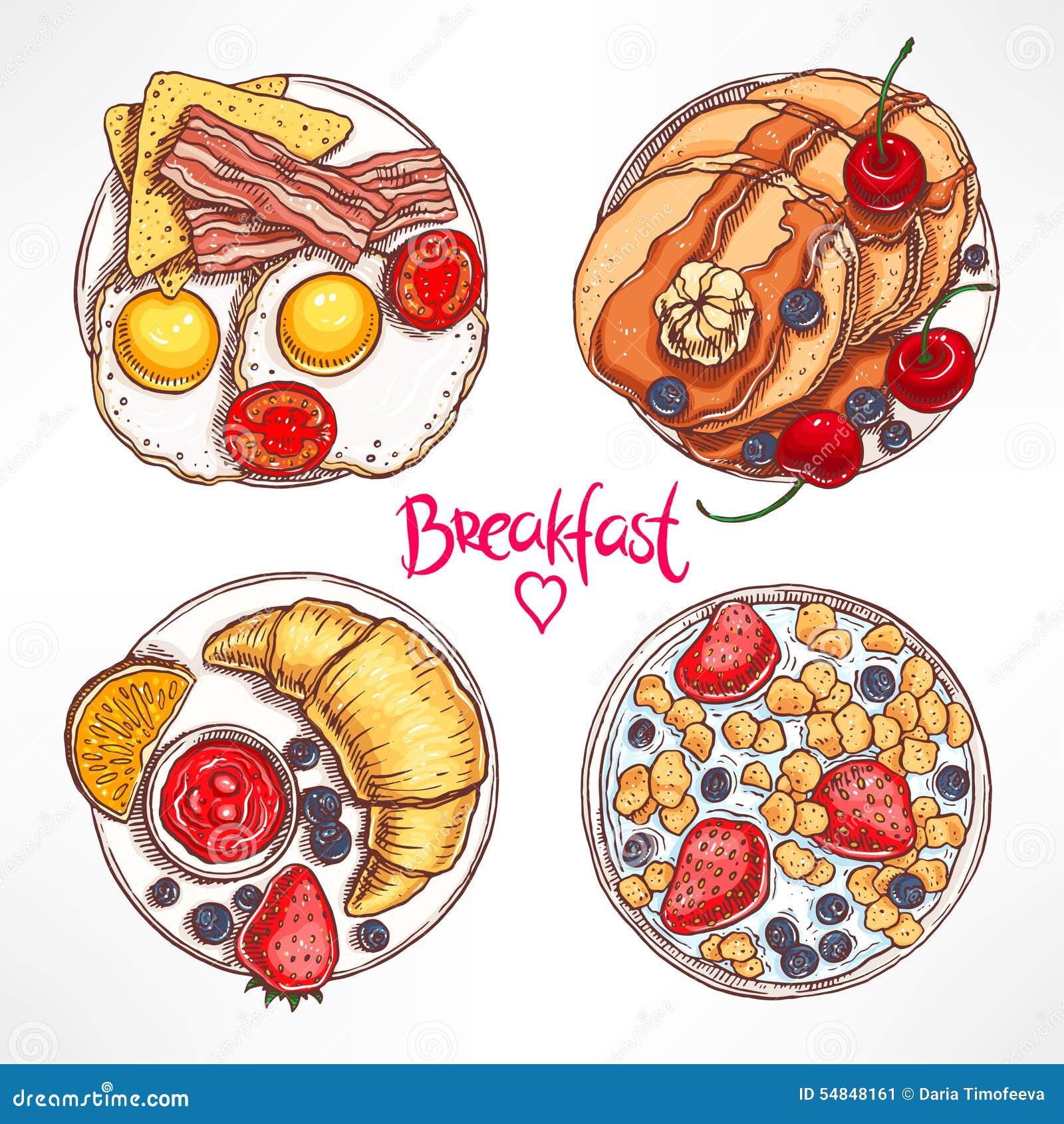 Ajuste com os quatro cafés da manhã diferentes