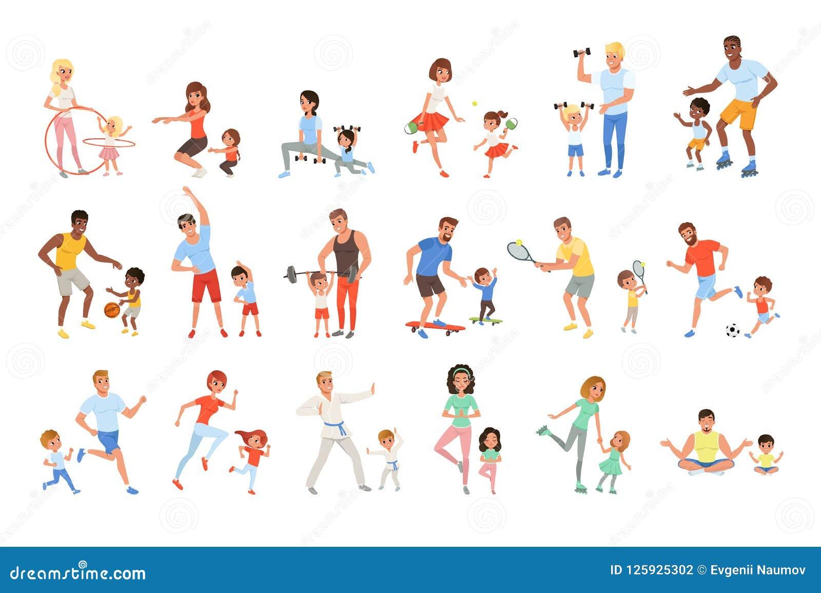 Ajuste com pais e suas crianças que fazem o esporte diferente exercitam Tempo da família Atividade e saudável físicos