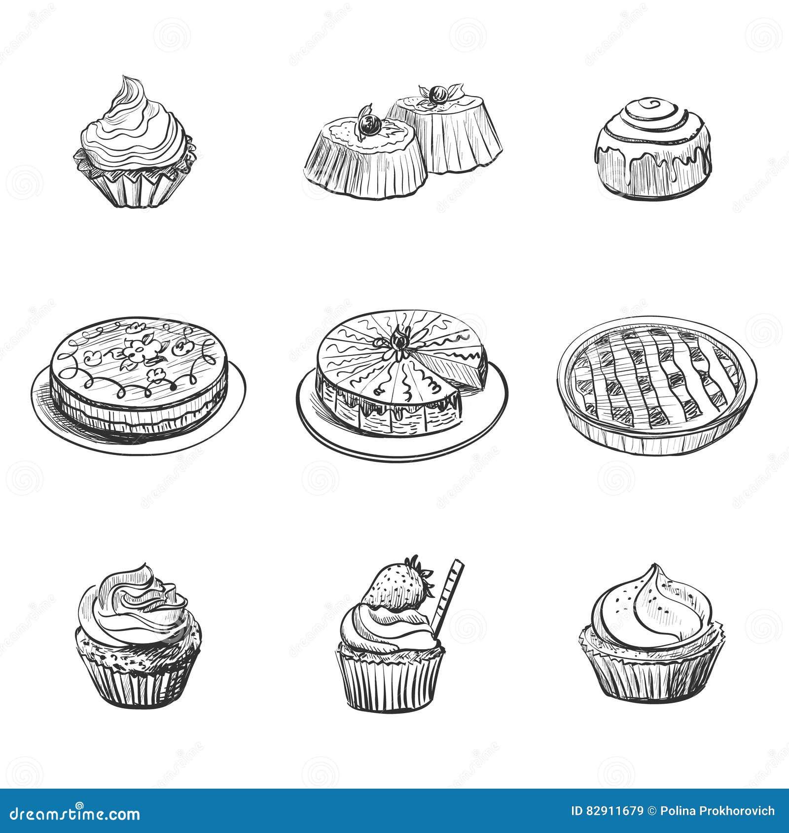Ajuste com produtos da padaria, pastelarias, queques, bolos Ícones do alimento