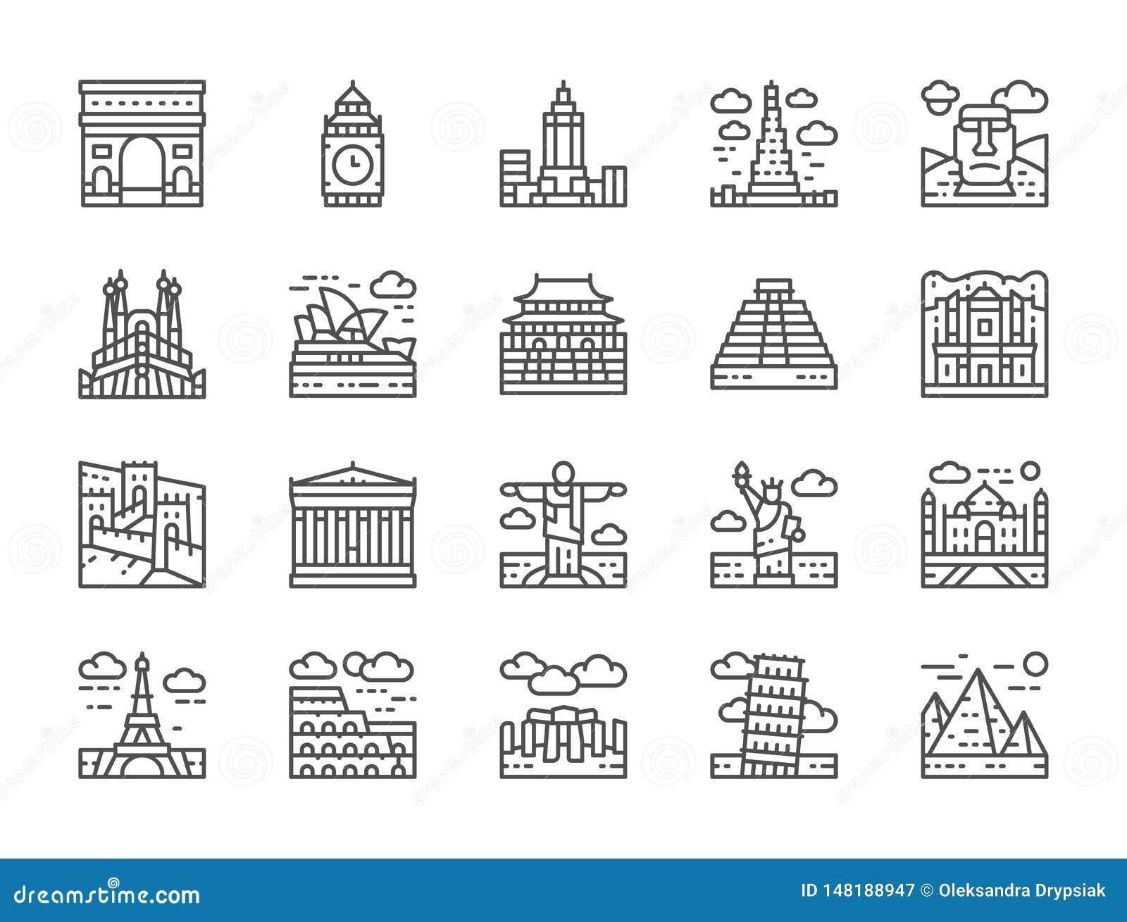 Ajuste da linha ícones do marco do mundo Egito, Itália, Reino Unido, França e mais