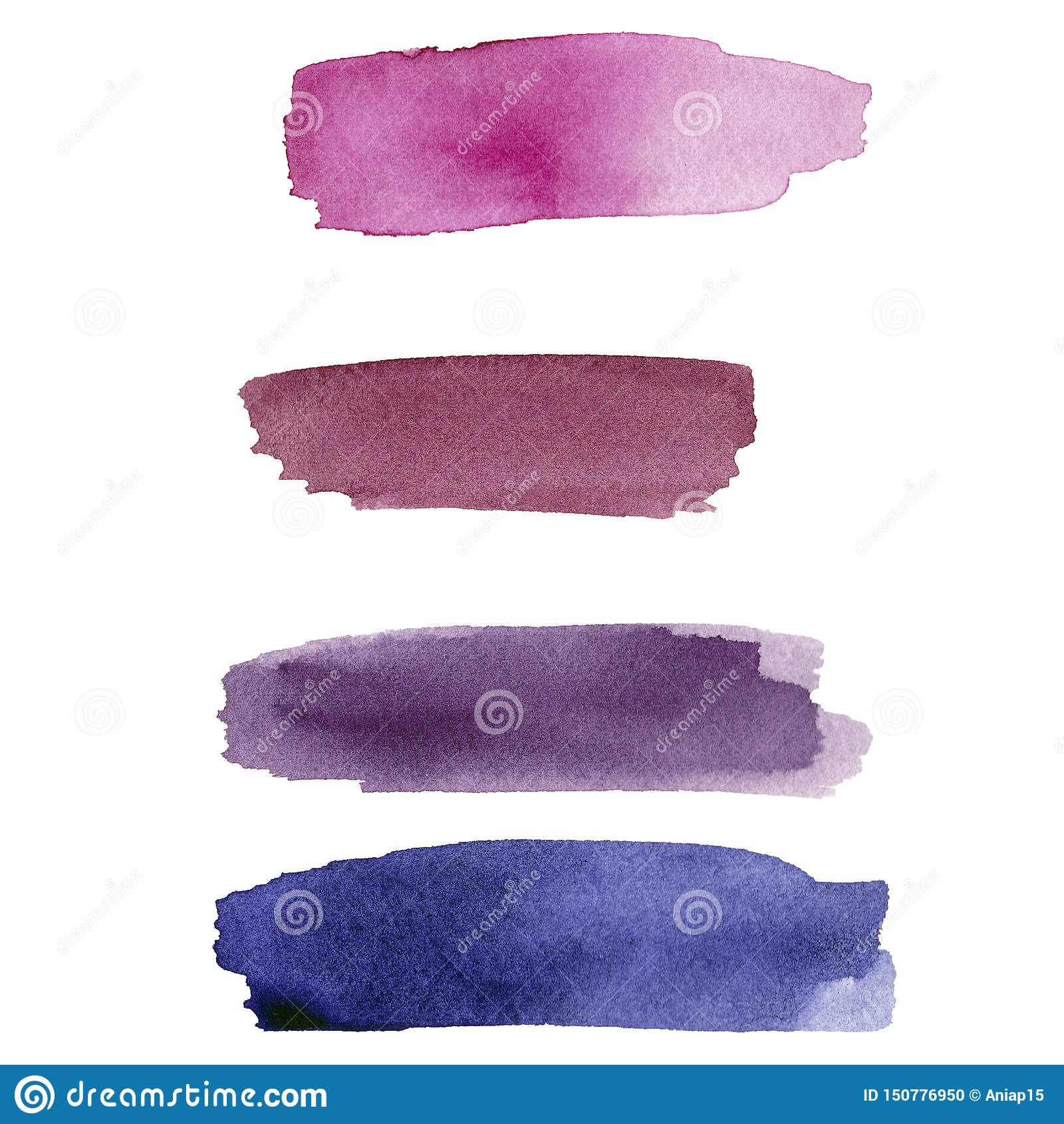 Ajuste da mancha roxa da aquarela no fundo branco A cor que espirra no papel É uma imagem tirada mão