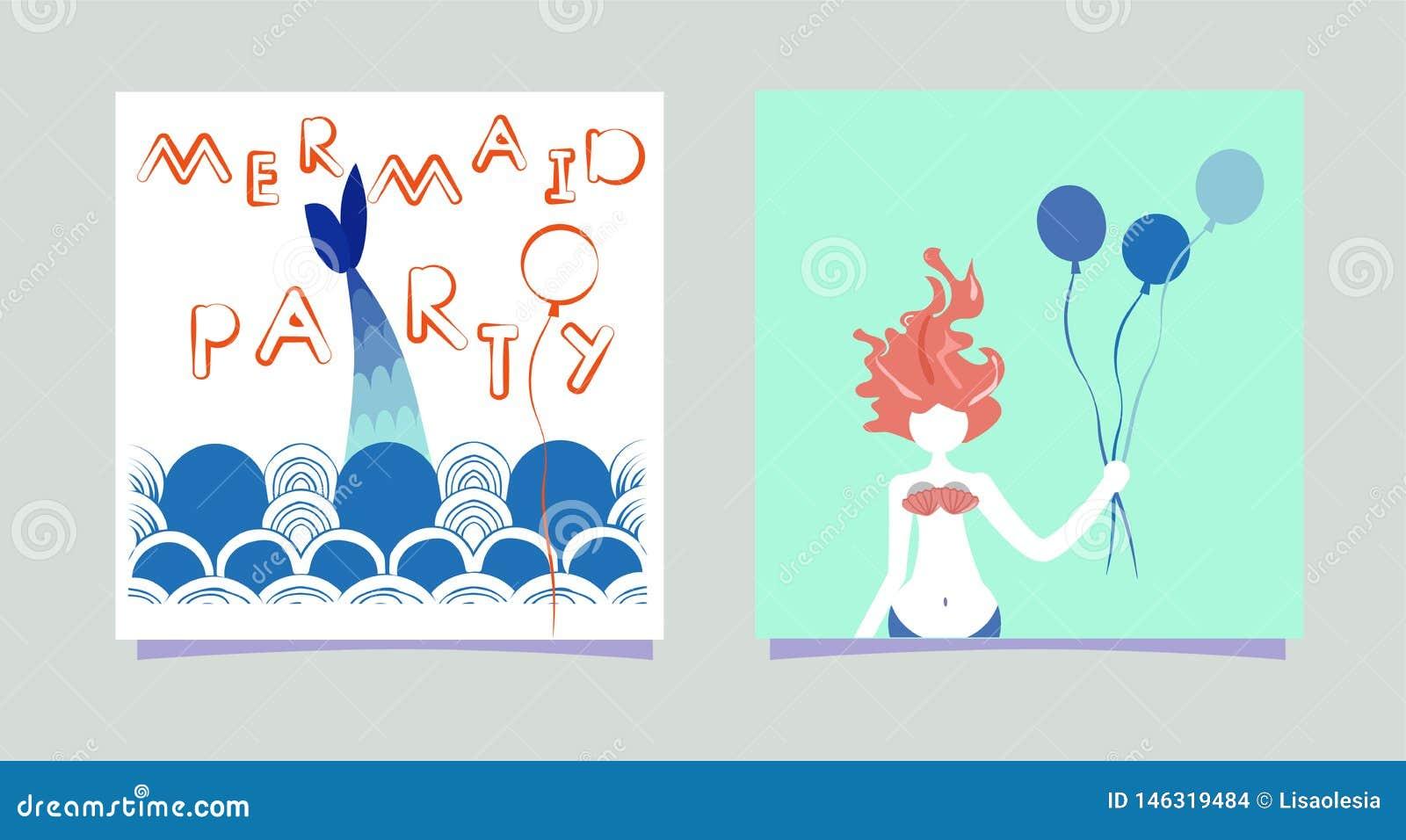 Ajuste da menina da sereia dos desenhos animados com balões Partido da sereia da inscrição Sirene das horas de verão com partido