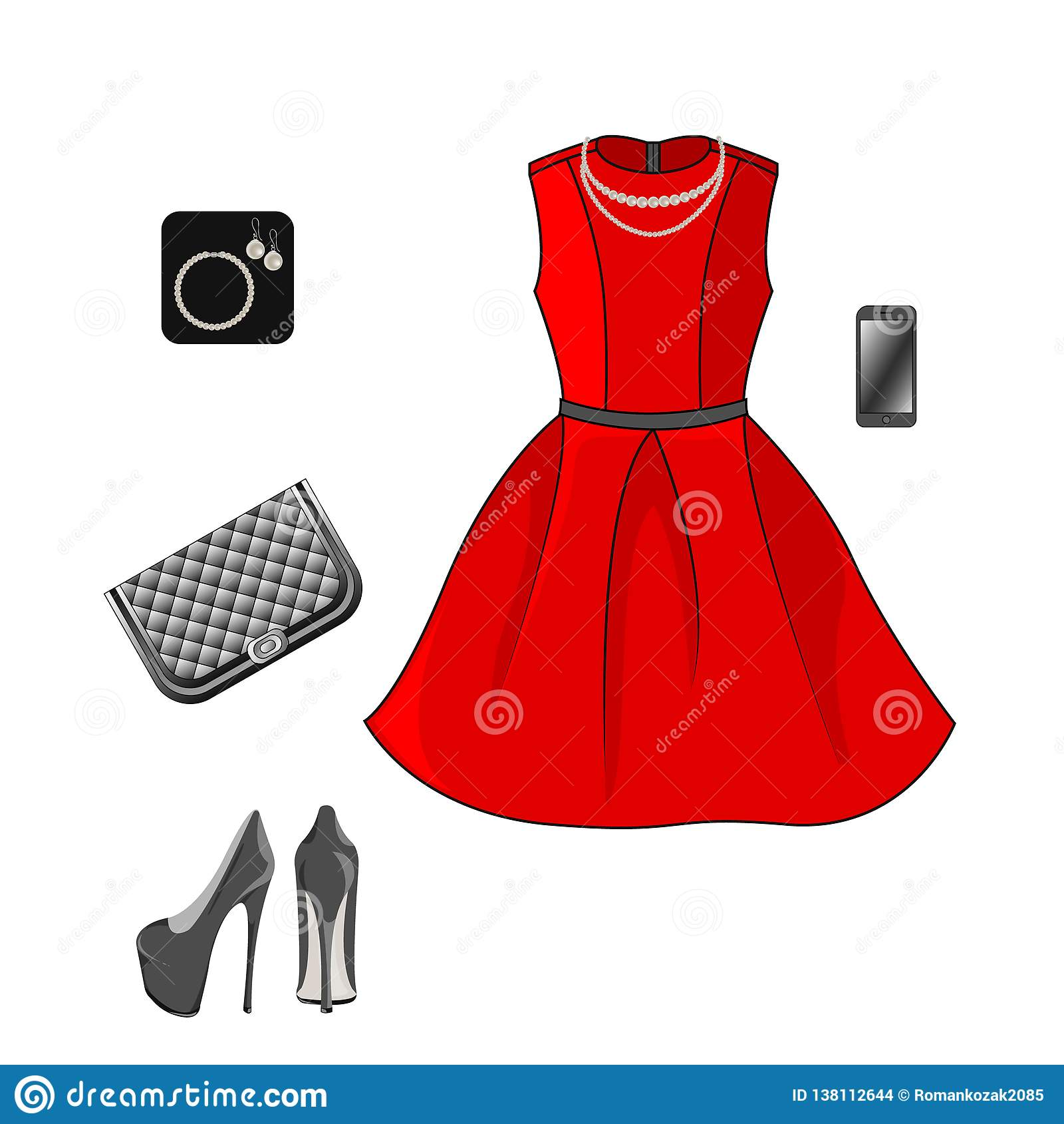 Ajuste da roupa da forma: vestido, sapatas, embreagem e acessórios vermelhos