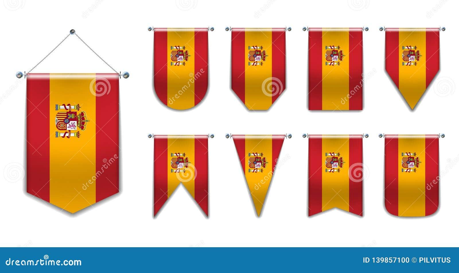 Ajuste das bandeiras de suspensão da Espanha com textura de matéria têxtil Formas da diversidade do país da bandeira nacional Flâ