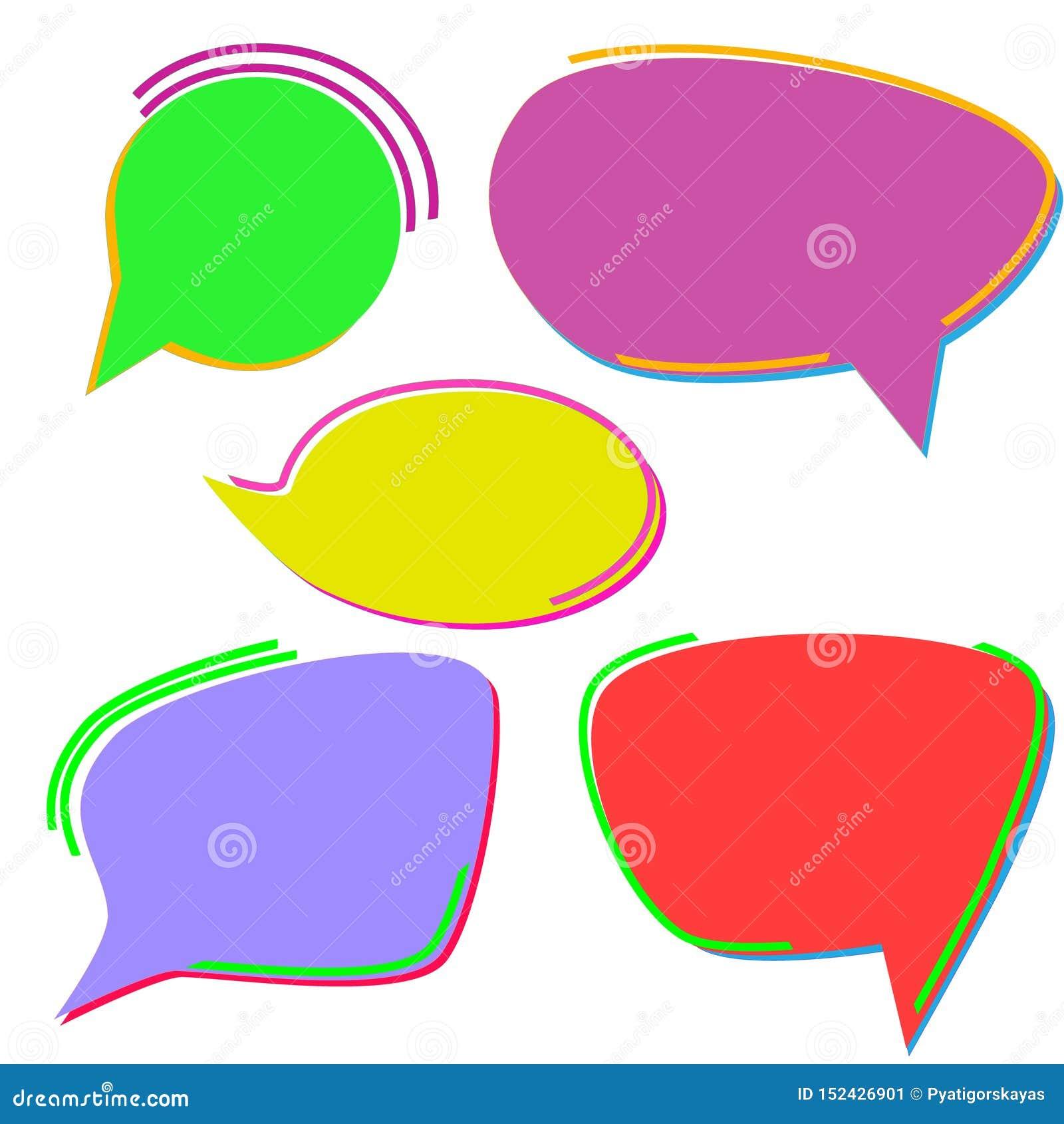 Ajuste das bolhas tiradas mão brilhante-coloridas do discurso Isolado no fundo branco