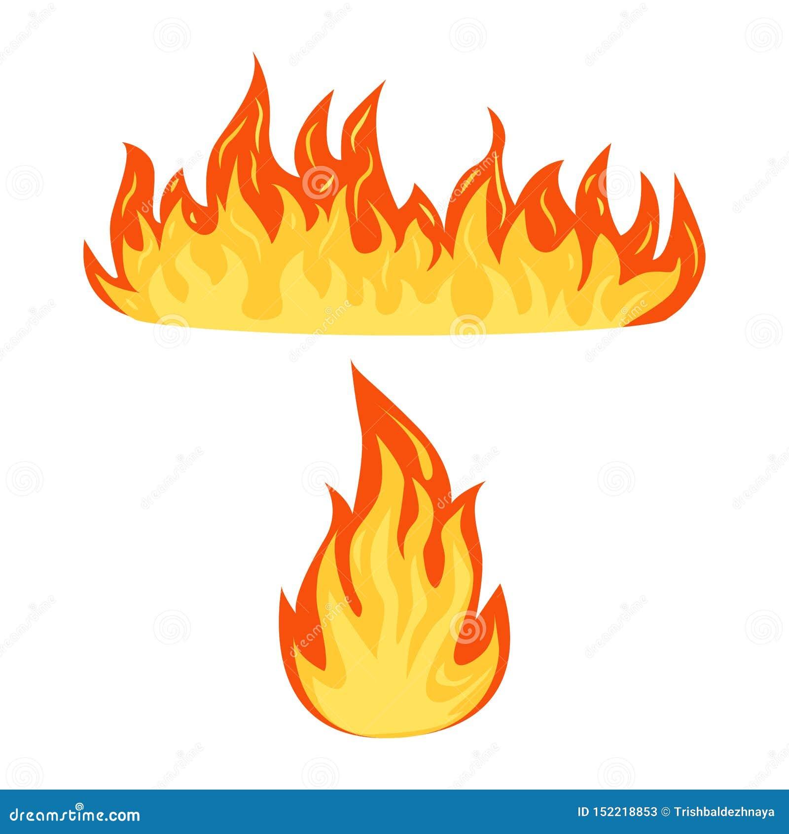 Ajuste das chamas de um fogo isoladas em um fundo branco, energia quente da chama dos desenhos animados, símbolos flamejantes, il