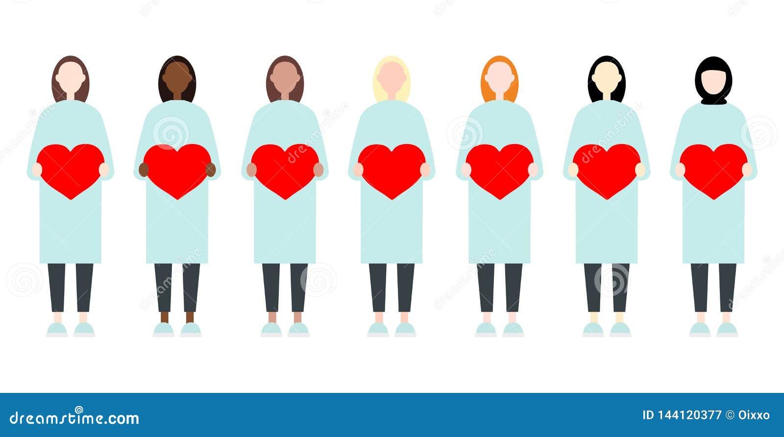 Ajuste das mulheres diversas do vetor da raça nos vestidos longos que guardam corações Estilo liso moderno bonito e simples da ir