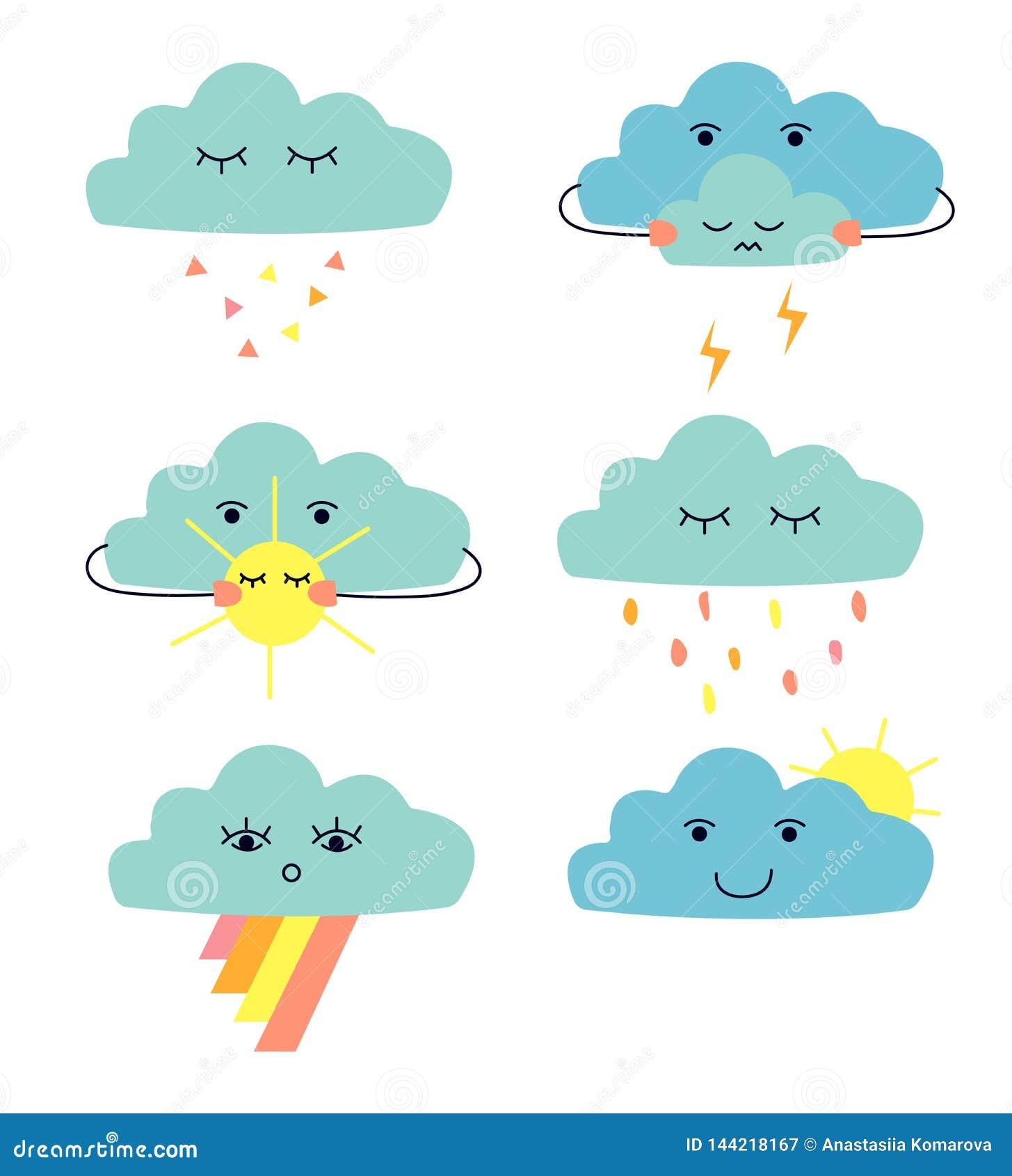 Ajuste das nuvens bonitos dos desenhos animados: nuvem de chuva; nuvem de trov?o; sol do witn da nuvem; nuvem com rainow