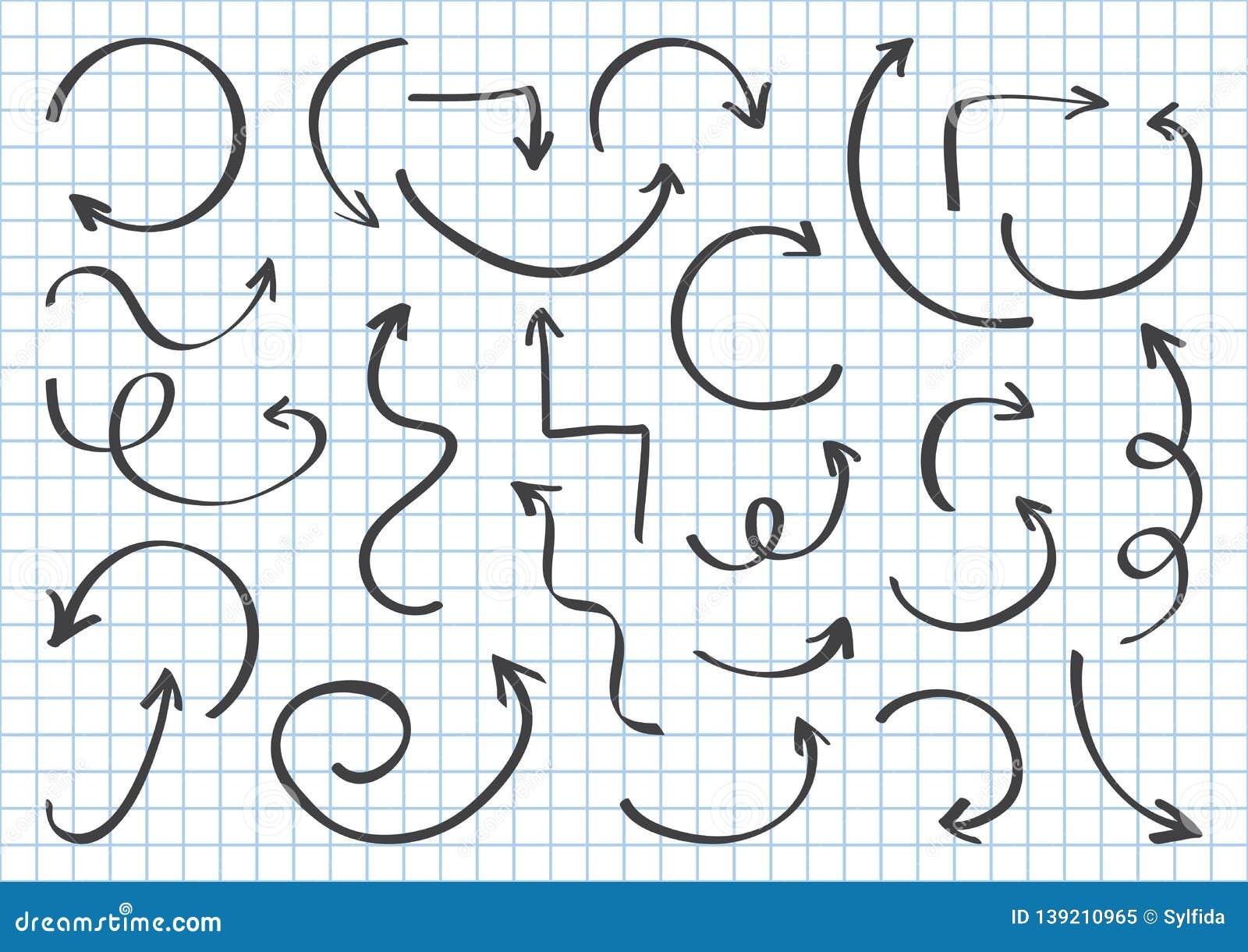 Ajuste das setas diferentes pretas entregam a tração no fundo geométrico quadriculado com linhas azuis Ilustração do vetor