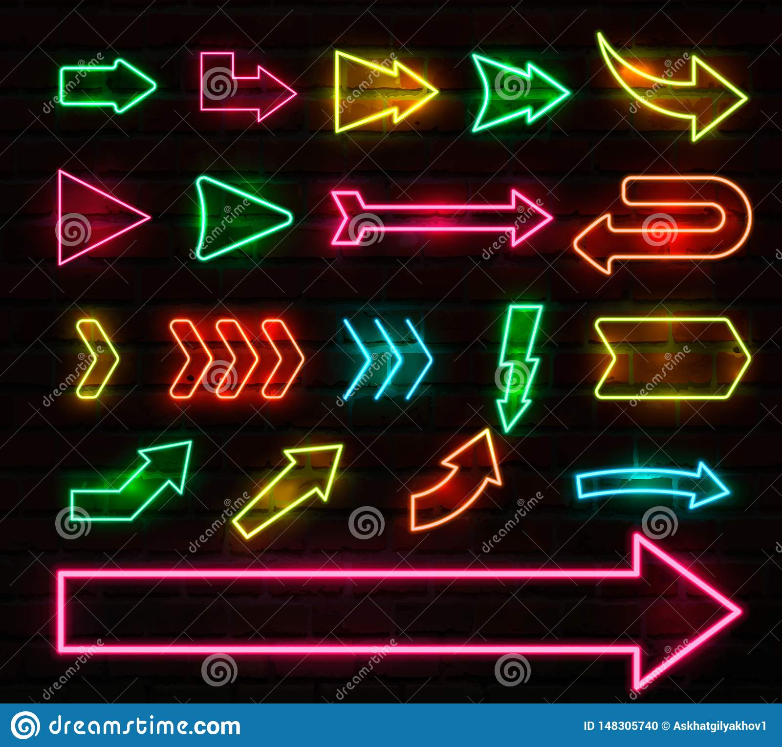Ajuste das setas e dos ponteiros de néon coloridos, ilustração do vetor