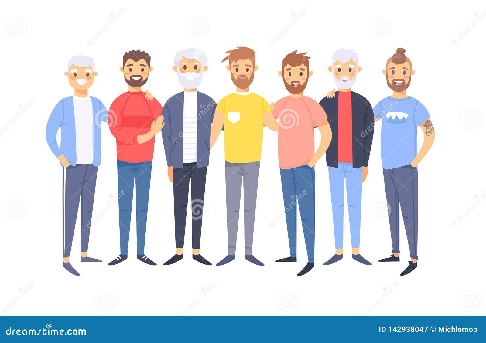 Ajuste de um grupo de homens caucasianos diferentes Caráteres europeus do estilo dos desenhos animados de idades diferentes Ameri