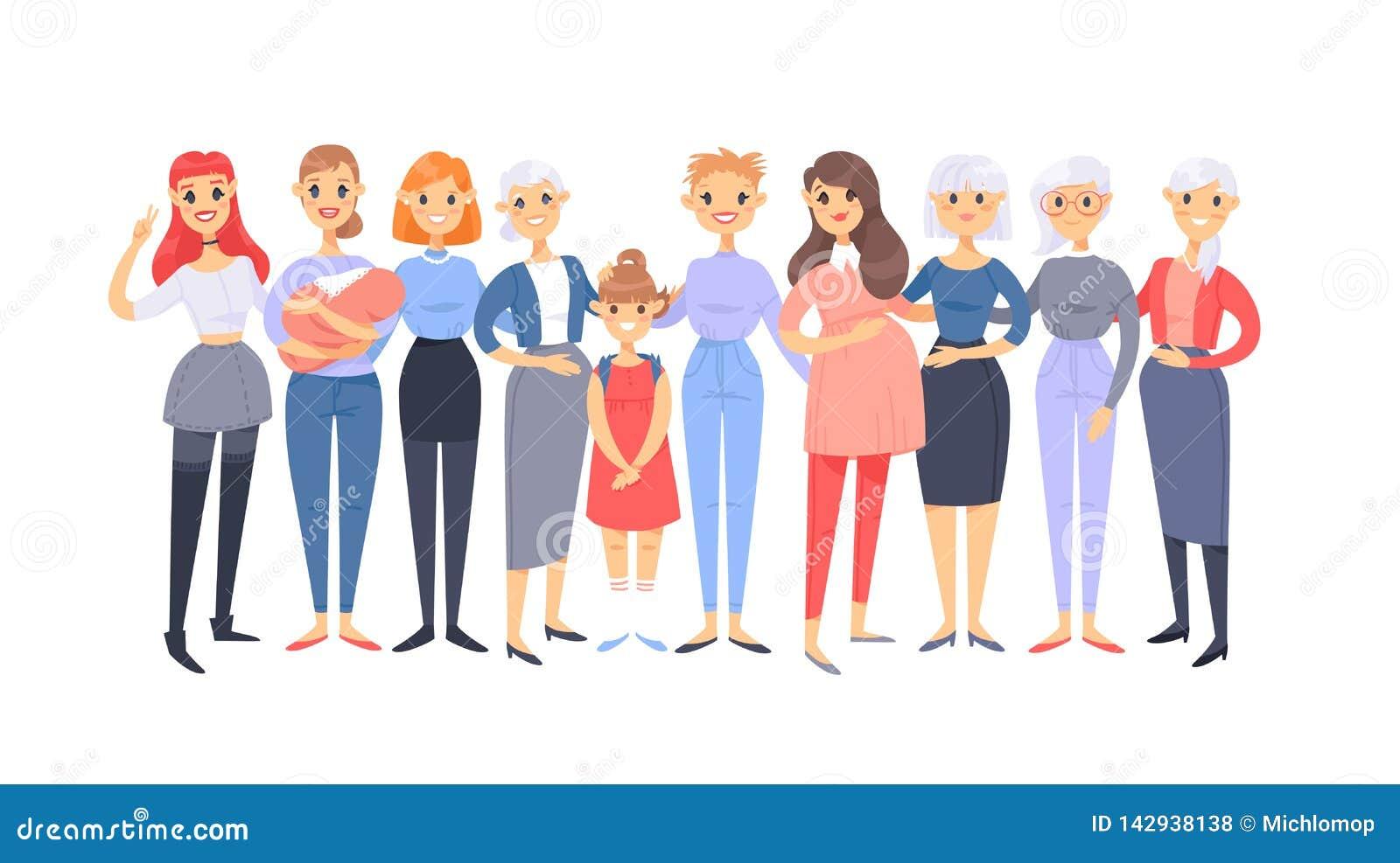 Ajuste de um grupo de mulheres caucasianos diferentes Car?teres europeus do estilo dos desenhos animados de idades diferentes Ame