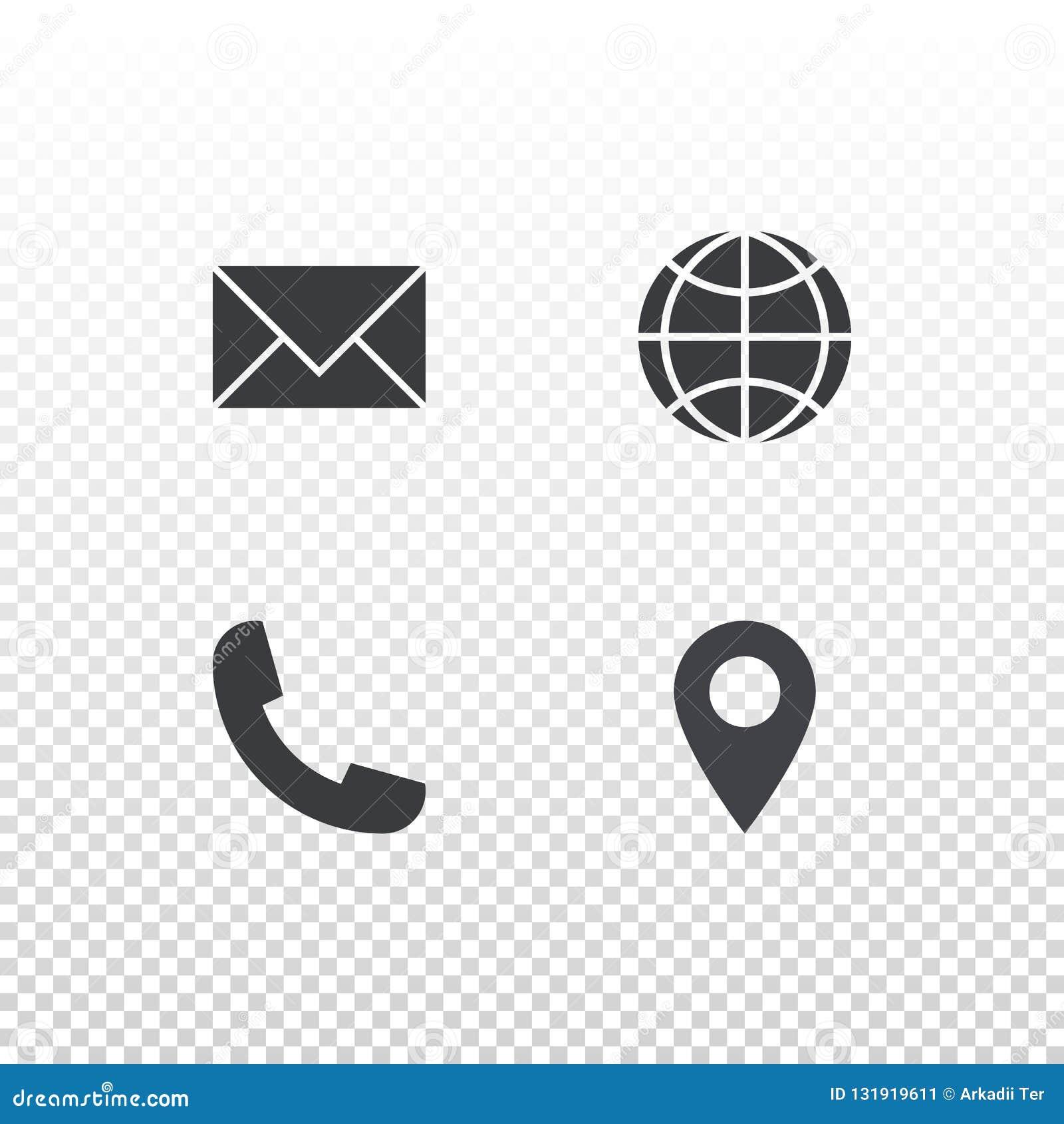 Ajuste do ícone do vetor para o cartão do projeto, o Web site ou o app nobile Símbolos do envelope, do globo, do telefone e da et