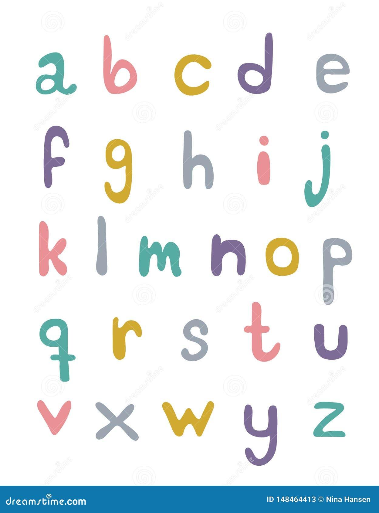 Ajuste do alphabeth escrito mão nas cores pastel em um fundo branco