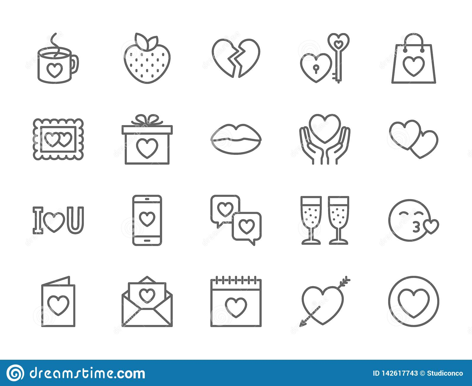 Ajuste do amor e da linha ícones do dia de Valentim Corações, presente, mensagem, beijo e mais