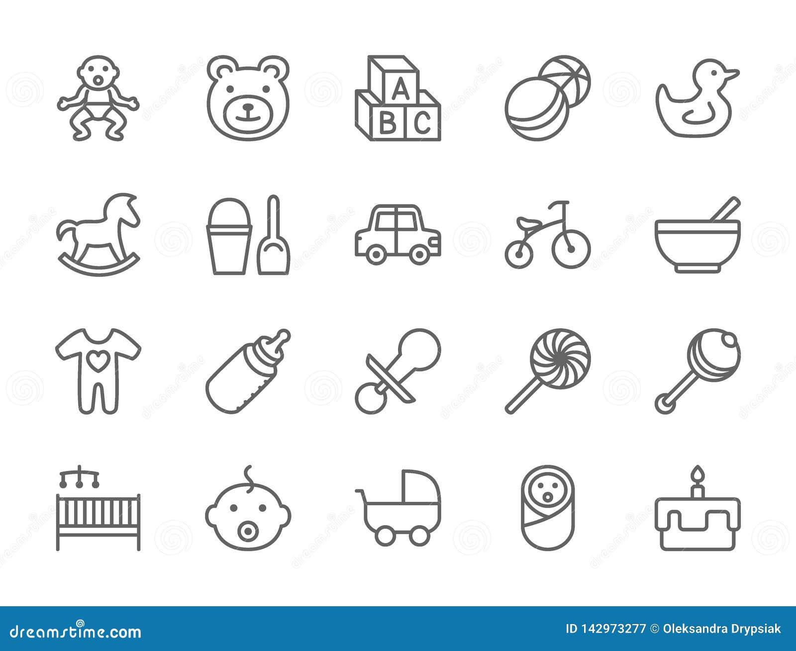 Ajuste do bebê e da linha ícones da infância Brinquedos, bicicleta, bocal, carrinho de criança e mais
