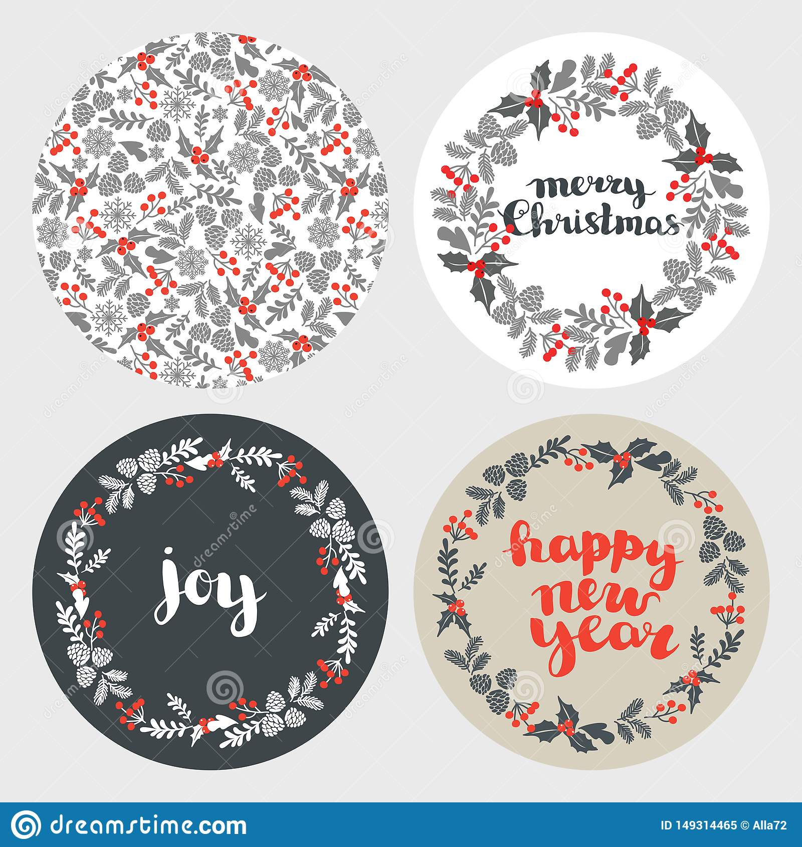 Ajuste do cartão, dos elementos e das ilustrações de Natal do inverno ajuste dos fundos redondos para cartões do ano novo