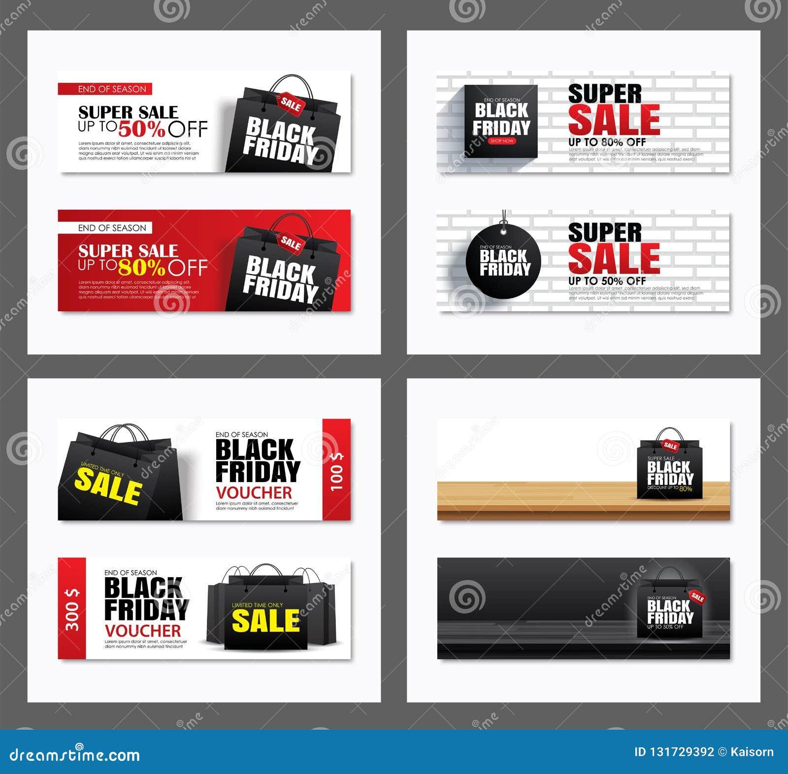 Ajuste do molde preto da tampa do saco de compras da venda de sexta-feira e do projeto da bandeira da Web Uso para o cartaz, inse