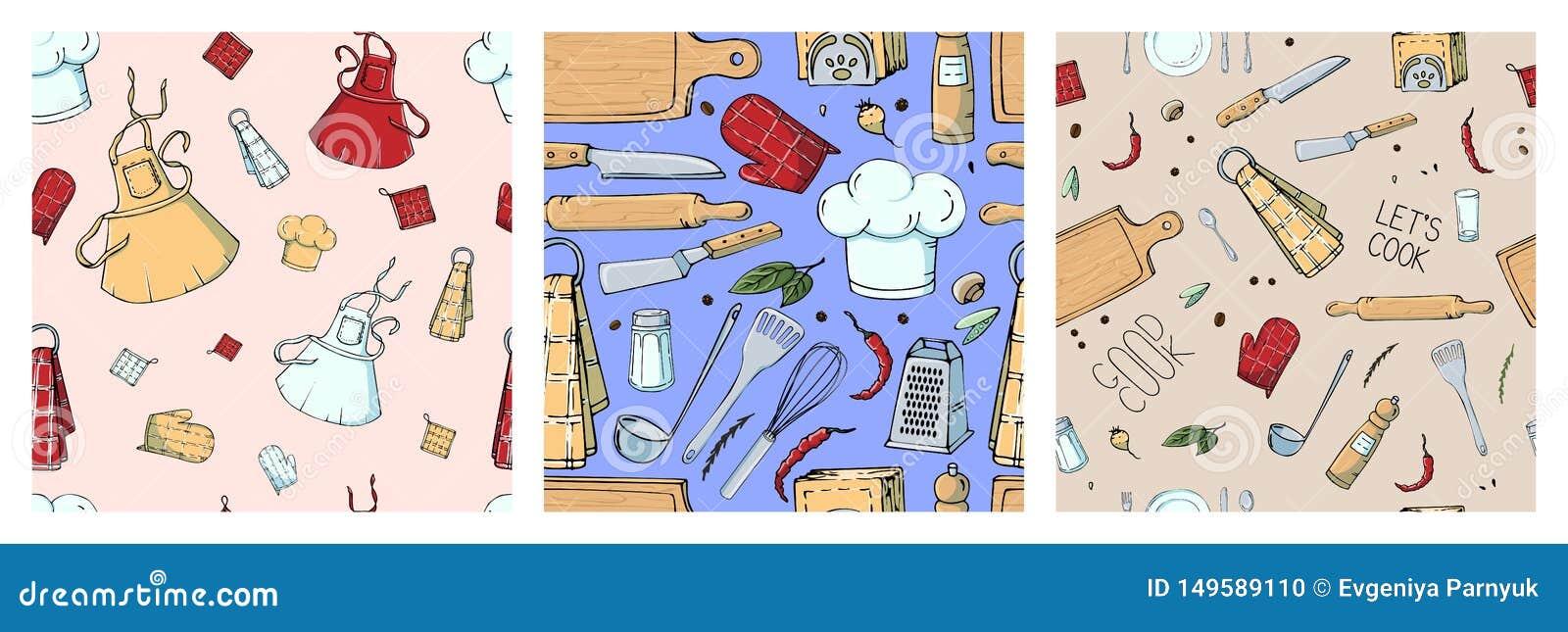 Ajuste do teste padrão sem emenda tirado mão com utensílios da cozinha