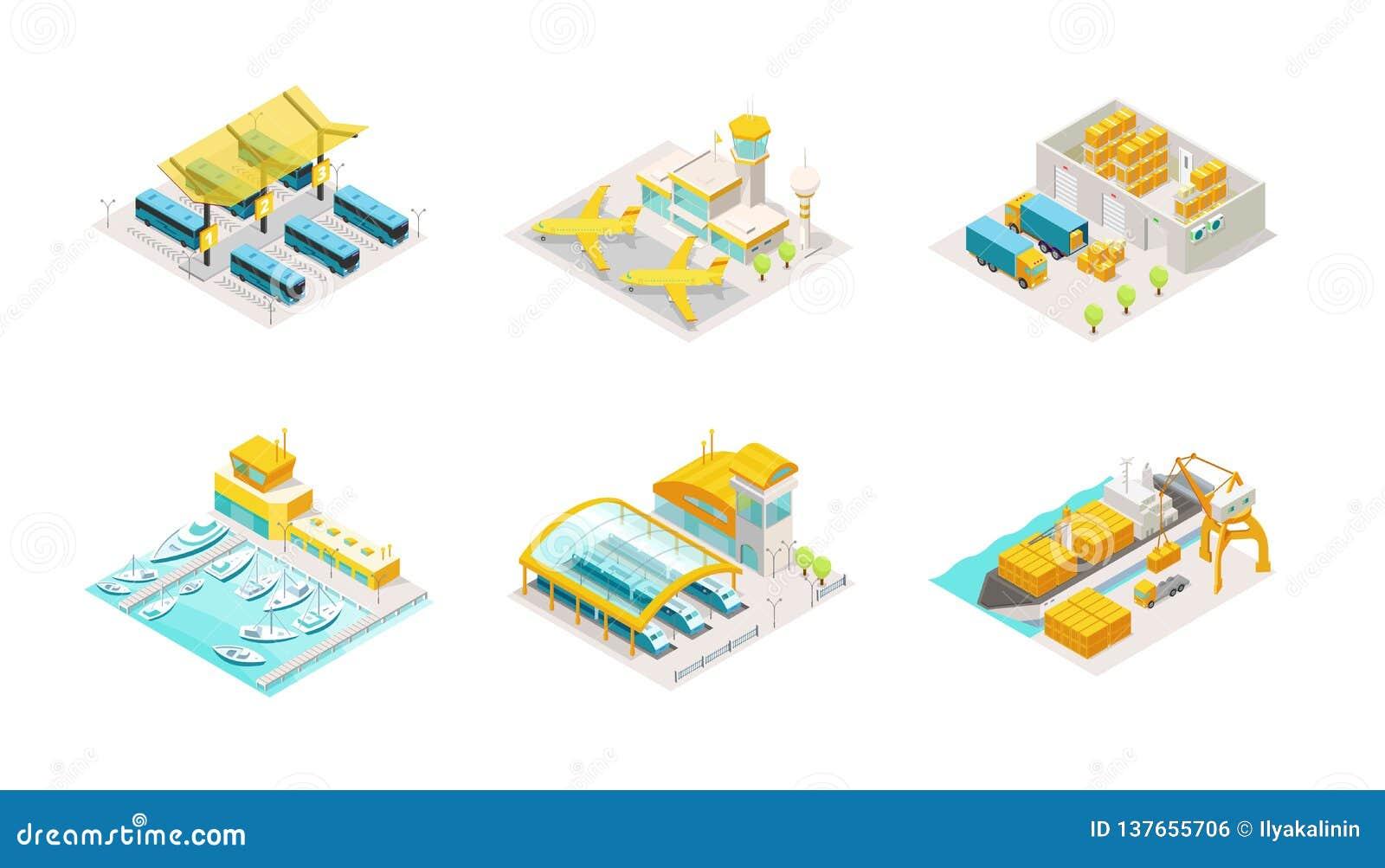 Ajuste do transporte isométrico Estação de ônibus, aeroporto do avião, armazém do serviço de entrega e caminhão Envio pelo mar