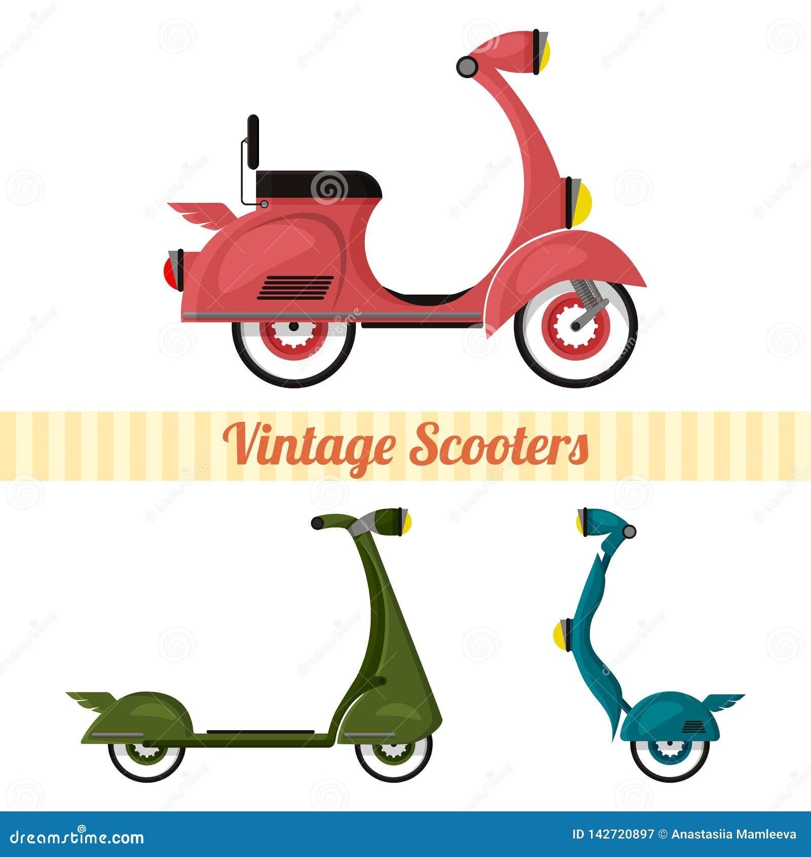 Ajuste do vintage e dos  trotinette s modernos ajustados no estilo retro Motocicleta,  trotinette , segway estilizado