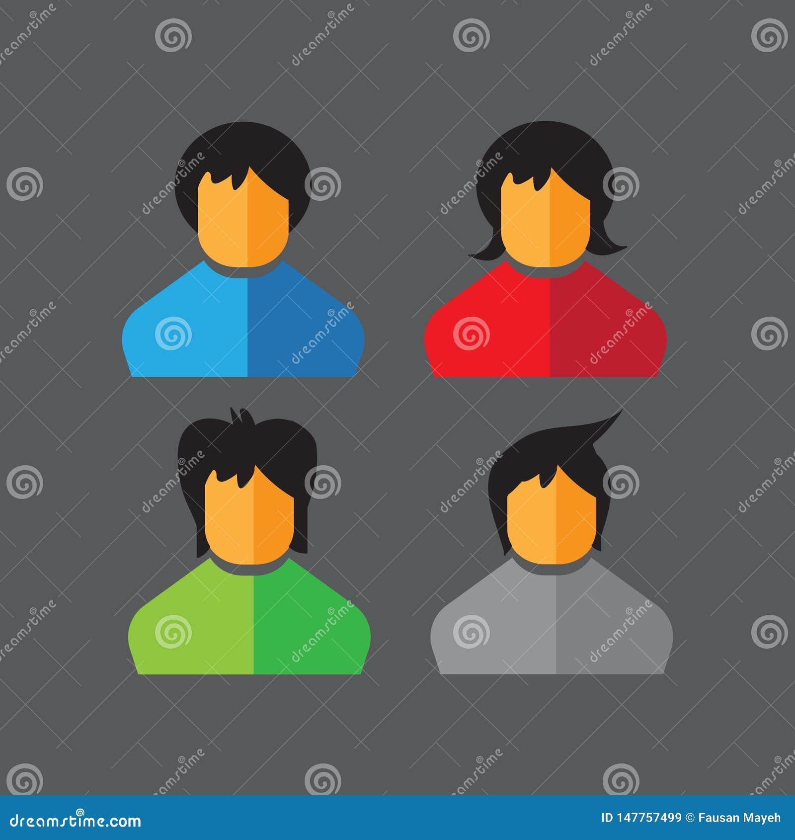 16052019 - ajuste dos ícones lisos do vetor ?cones dos povos avatars