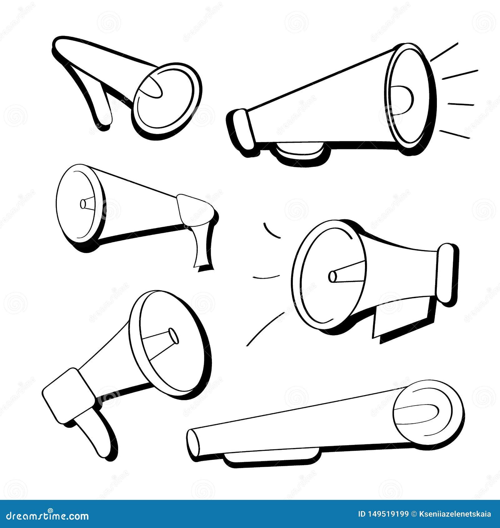 Ajuste dos ícones lisos preto e branco dos adaptadores bucais, altifalante no estilo dos desenhos animados Megafones isolados no