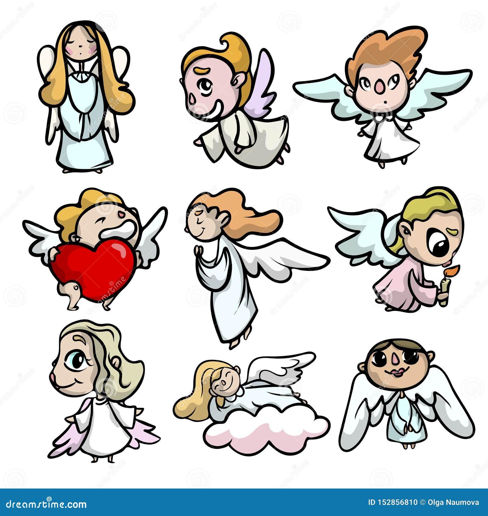 Ajuste dos anjos bonitos da criança com as asas da cara e da luz
