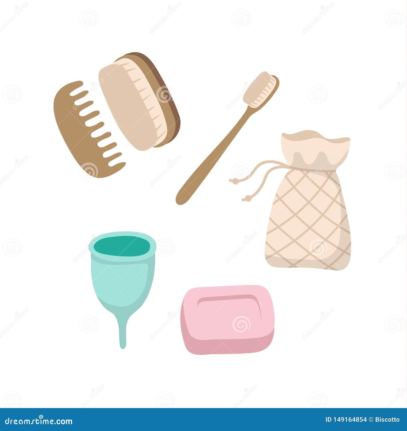 Ajuste dos artigos ecológicos da higiene pessoal - escova de dentes de madeira, copo menstrual, sabão contínuo, escovas, saco do